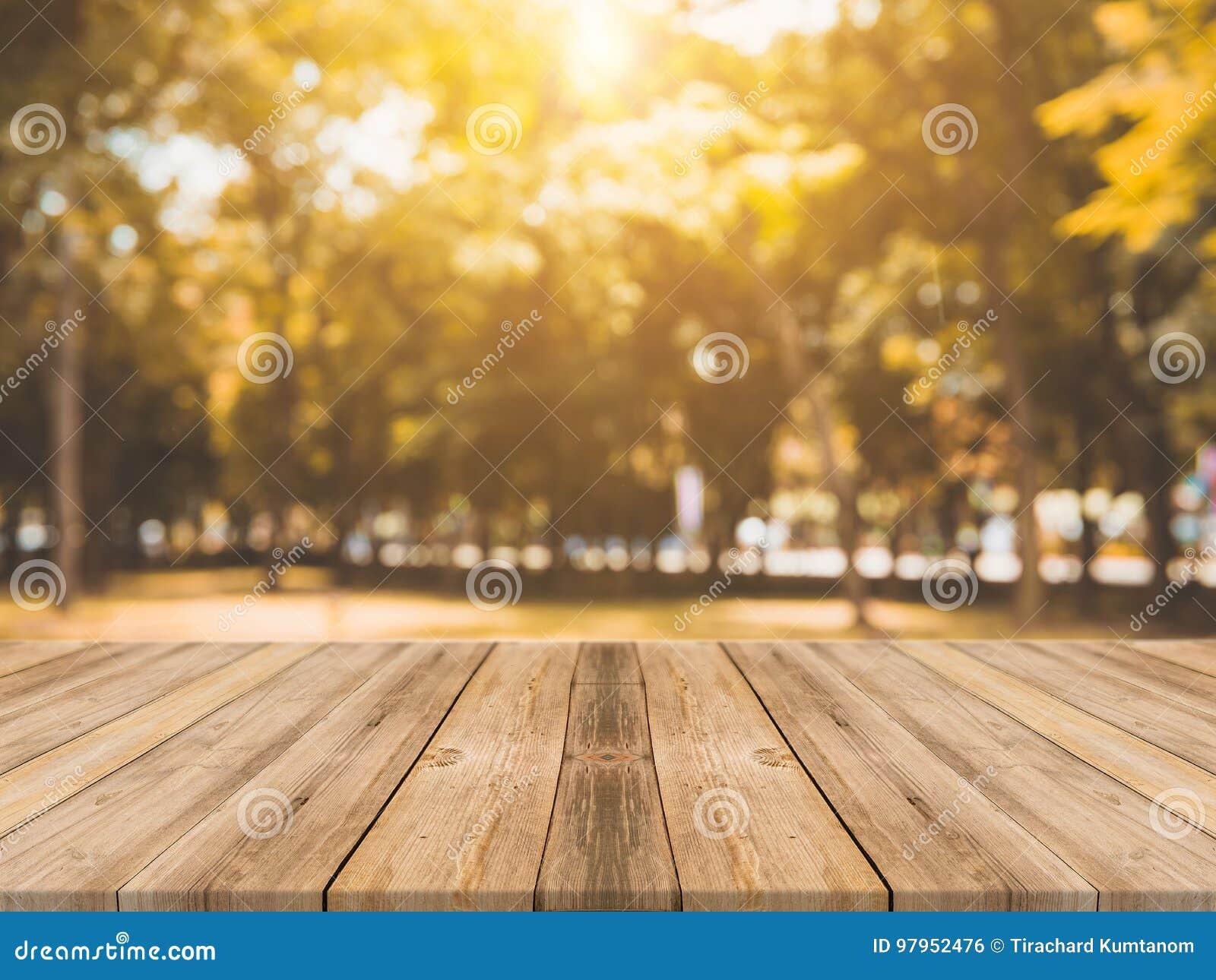 Таблица деревянной доски пустая перед запачканной предпосылкой Таблица перспективы коричневая деревянная над деревьями нерезкости