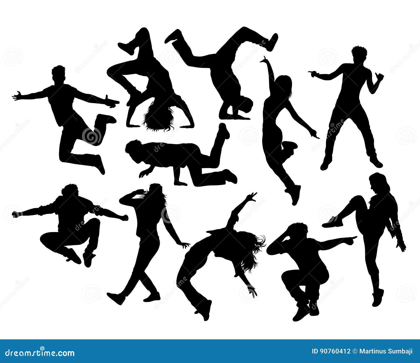 Тазобедренный танцор хмеля, мужчина и женское действие и силуэты деятельности