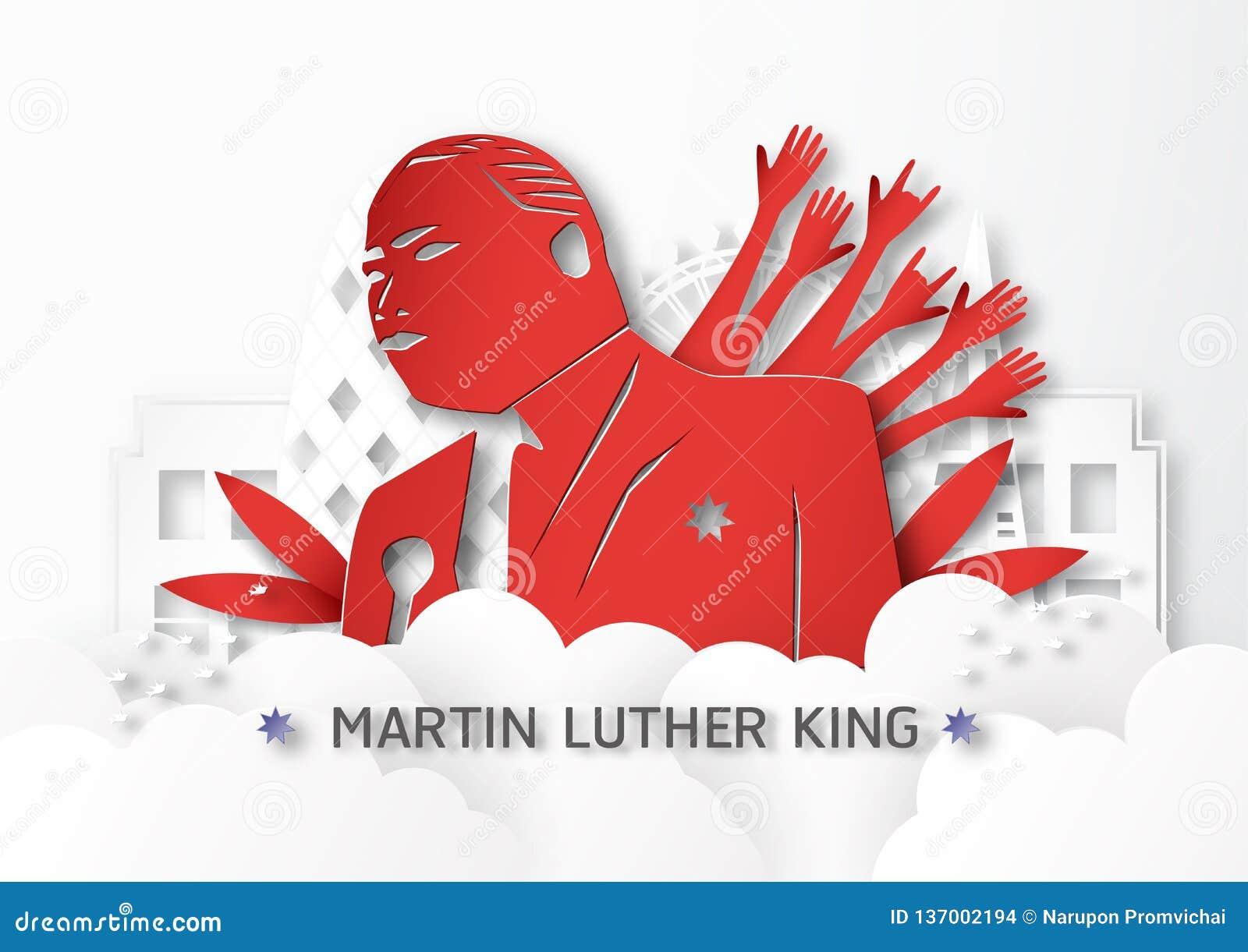 Таиланд, Udonthani - 16-ое января 2019: Счастливый младший Мартина Лютера Кинга День с бумажным стилем отрезка и ремесла Иллюстра
