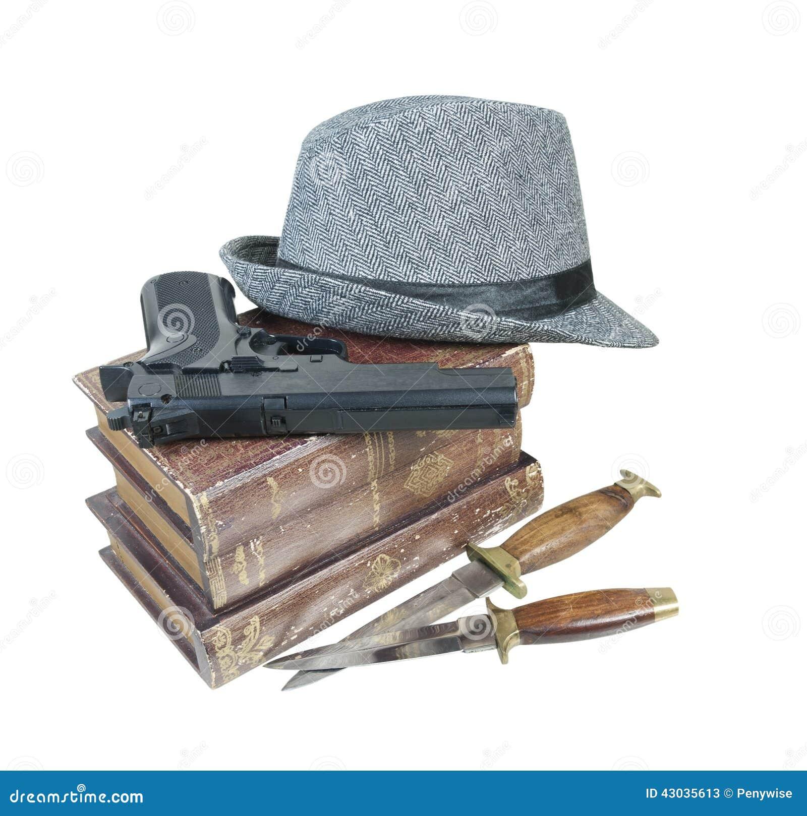 Тайна убийства записывает шляпу ножей оружия
