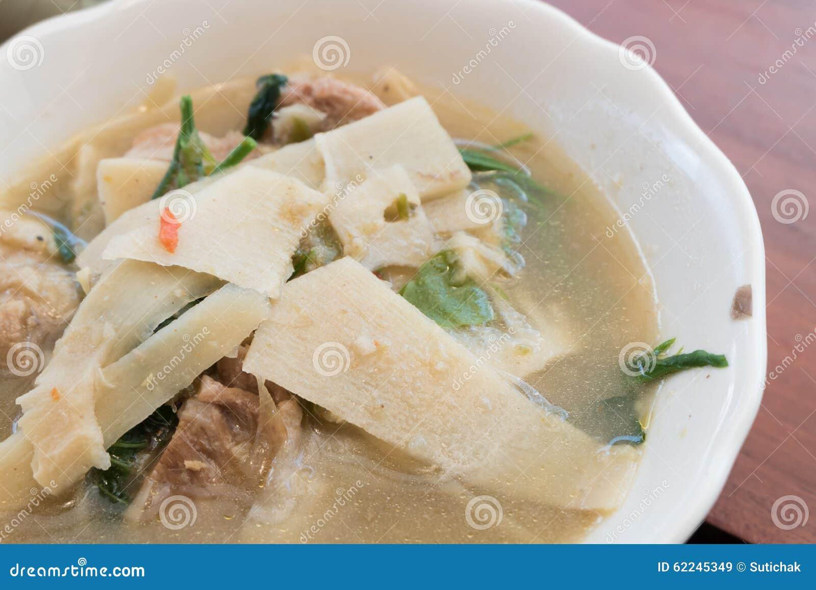 Тайская еда, карри стиля супа бамбукового всхода северное