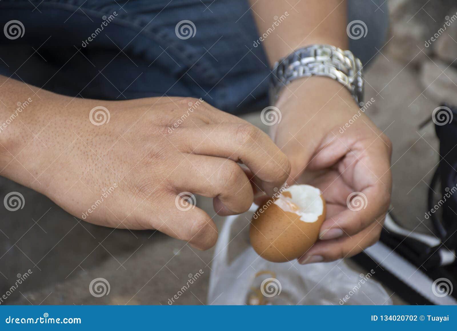 Тайские люди человека слезая вареные яйца раковины onsen в горячем источнике PA Tueng на Mae Chan в Chiang Rai, Таиланде