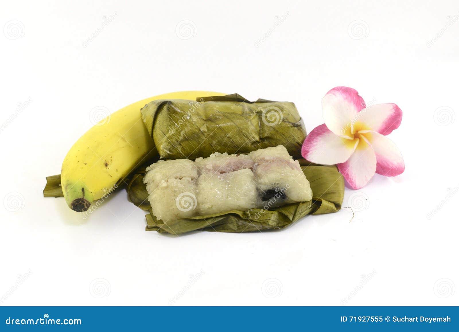 Тайский десерт сделанный от банана и glutinous риса