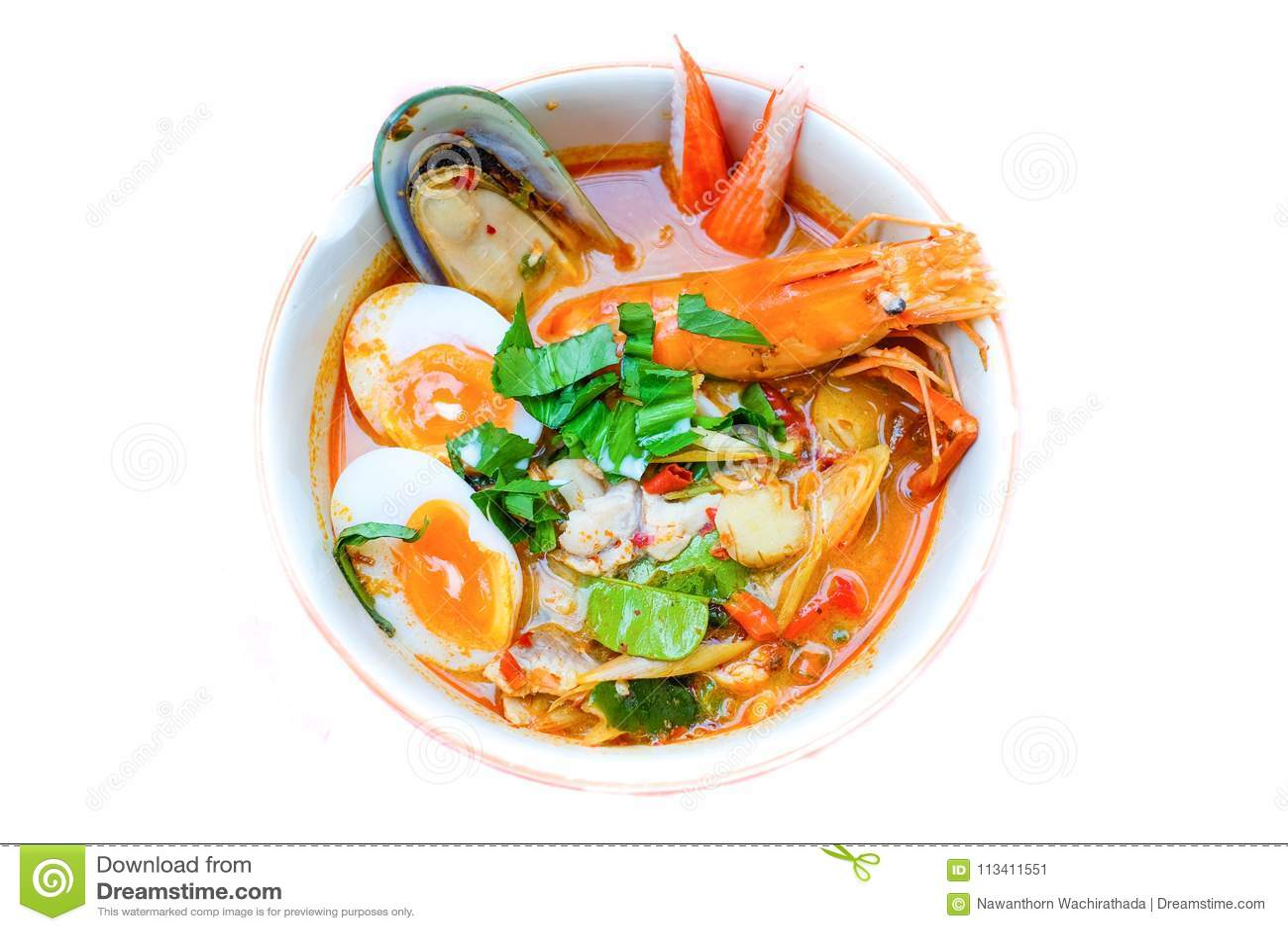 Тайский рецепт супа Тома супа лапши Yum с креветкой