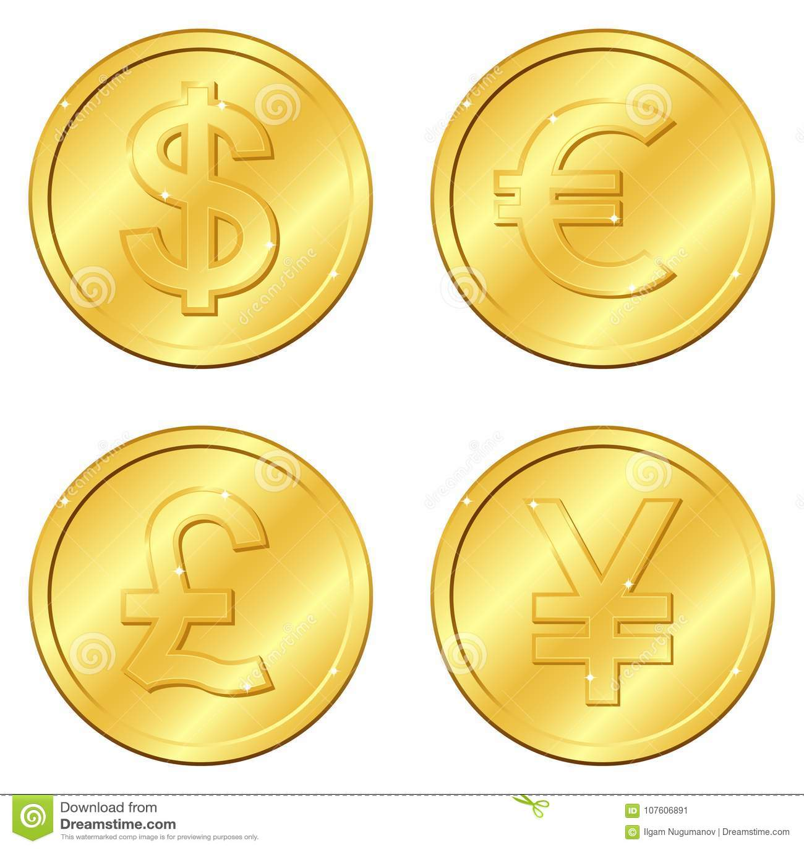 также вектор иллюстрации притяжки corel Комплект золотых монеток с 4 главными валютами Доллар, евро, фунт стерлинга, юани или иен