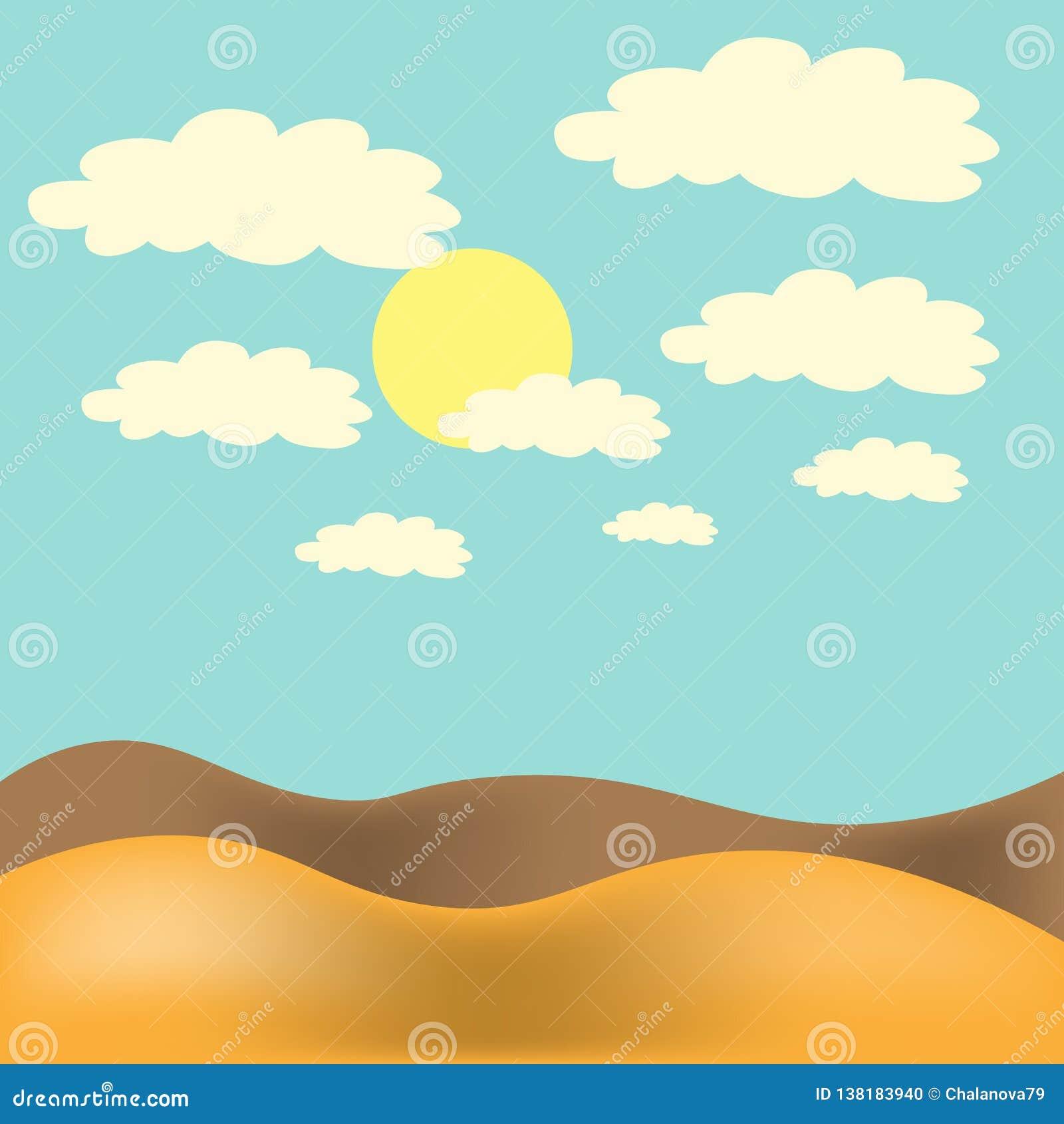 также вектор иллюстрации притяжки corel Ландшафт пустыни с голубым небом, солнцем и облаками