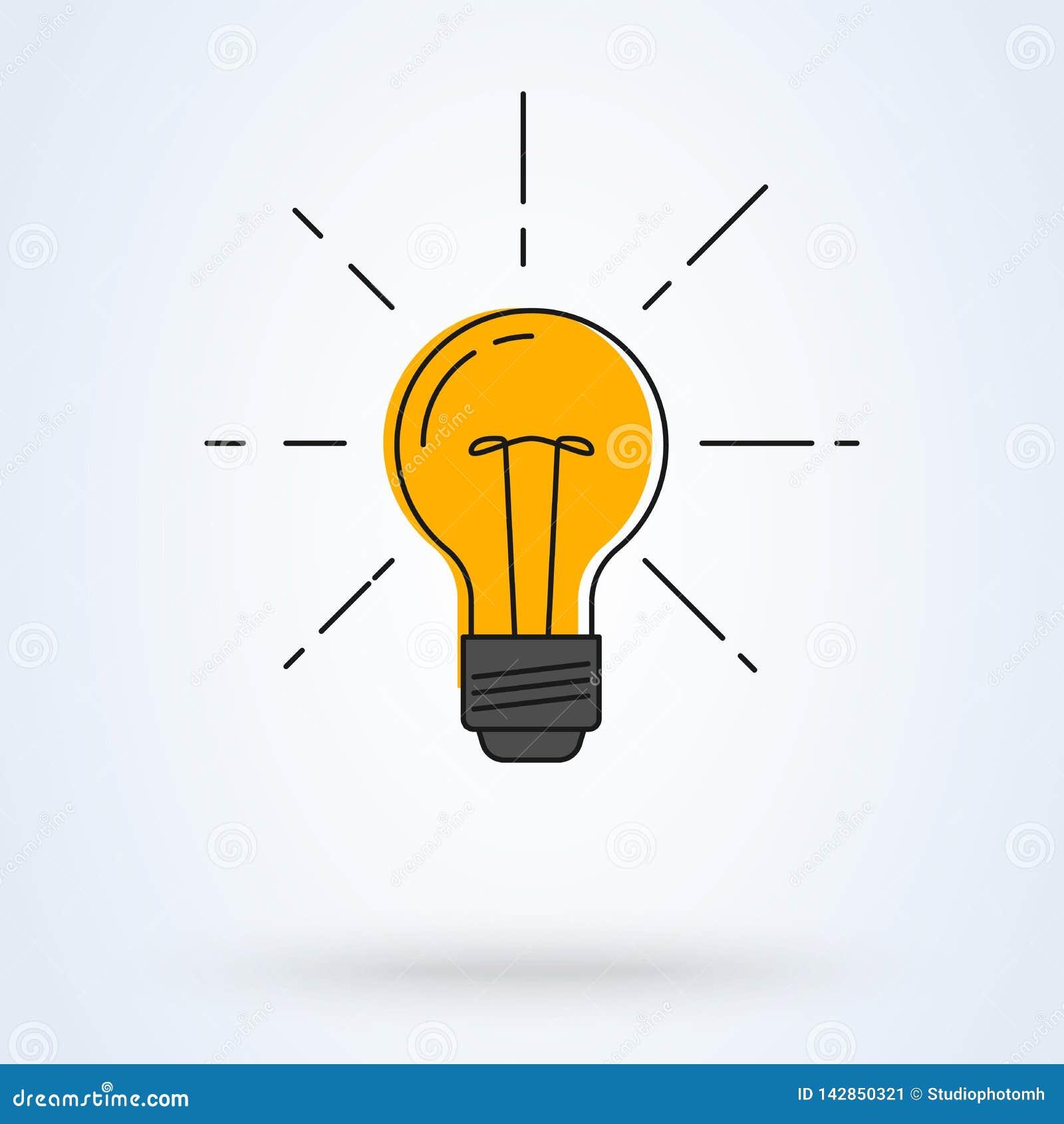 также вектор иллюстрации притяжки corel Электрическая лампочка с блеском лучей Линия дизайн искусства плоский Символ энергии и ид