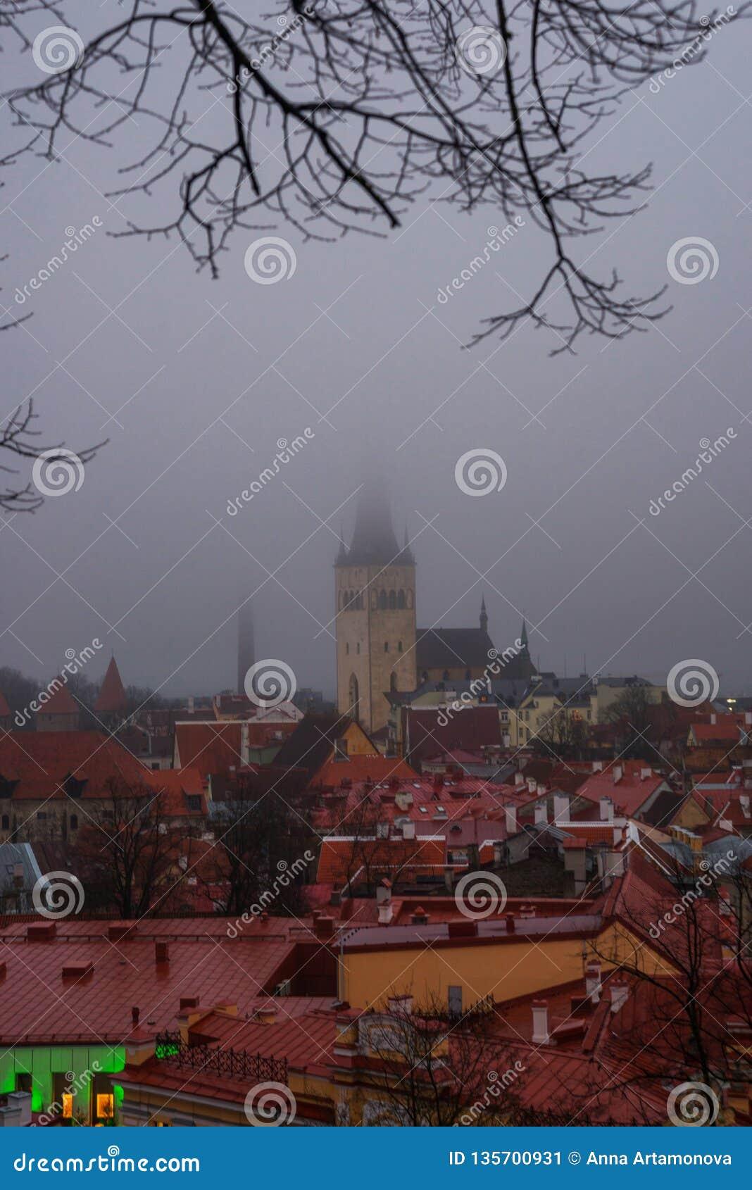 Таллин, Эстония: Церковь St Olaf Воздушный городской пейзаж со средневековым старым городком, ландшафт с панорамой города в туман