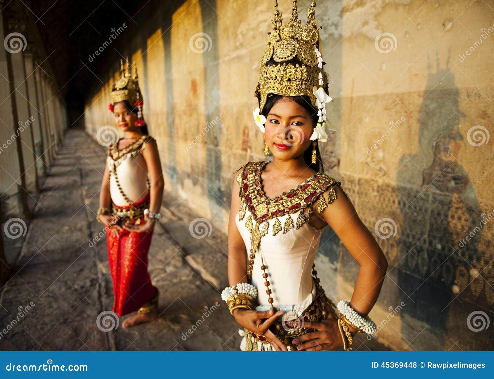 Танцоры Камбоджа Raditional Aspara