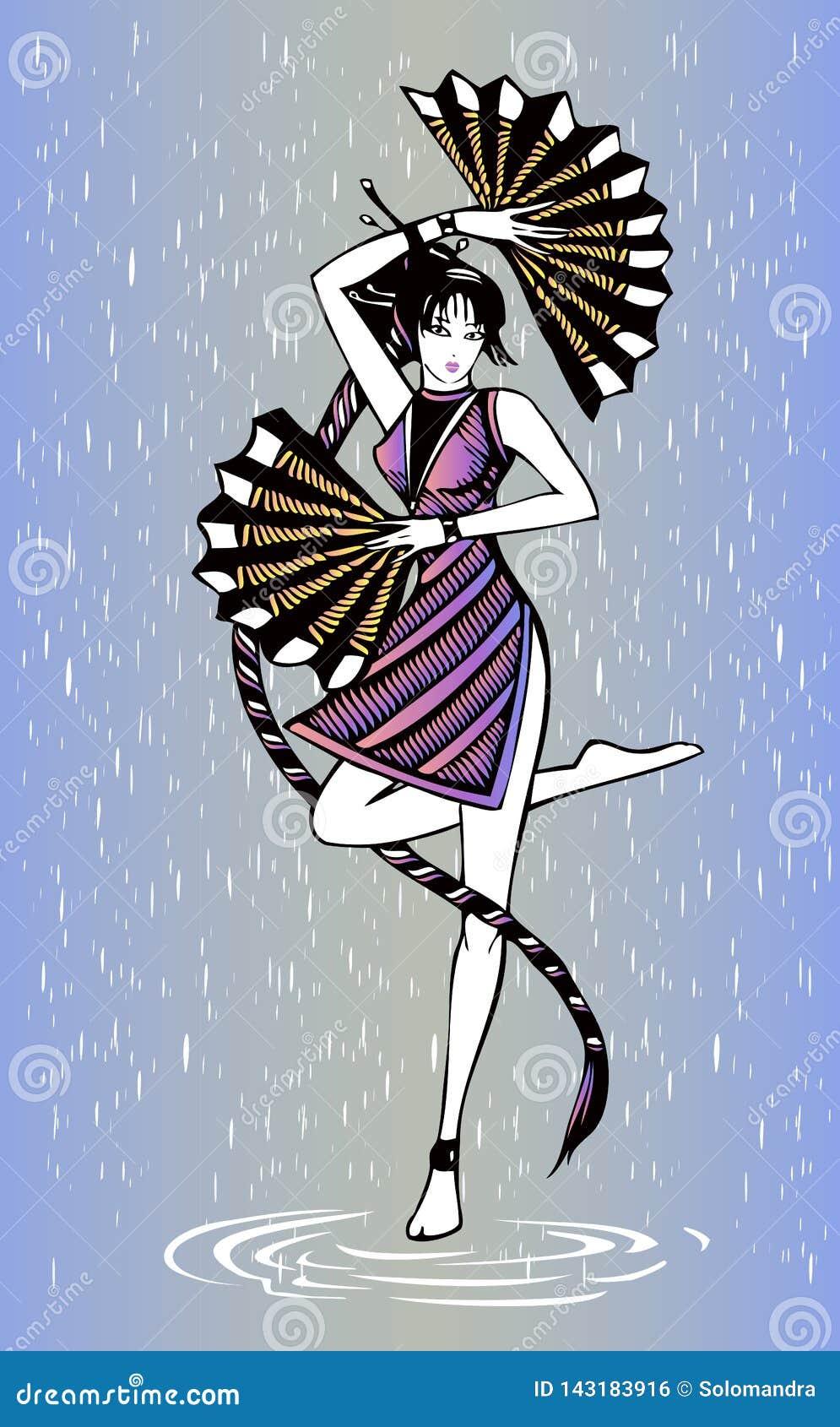 Танцор девушки черных волос с вентиляторы