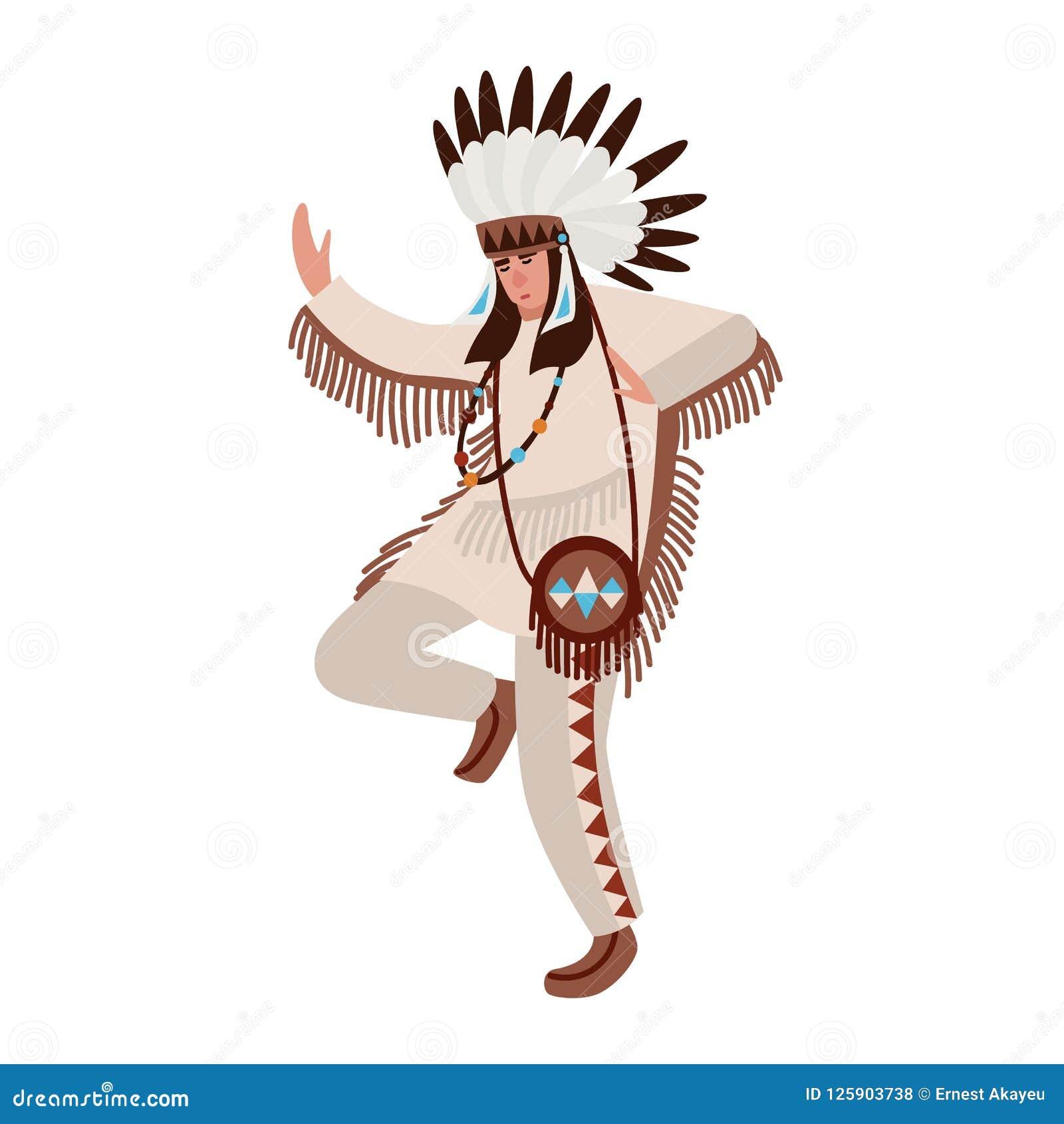 Танцуя американский индеец нося bonnet этнического костюма и войны Укомплектуйте личным составом выполнять племенной танец индиге