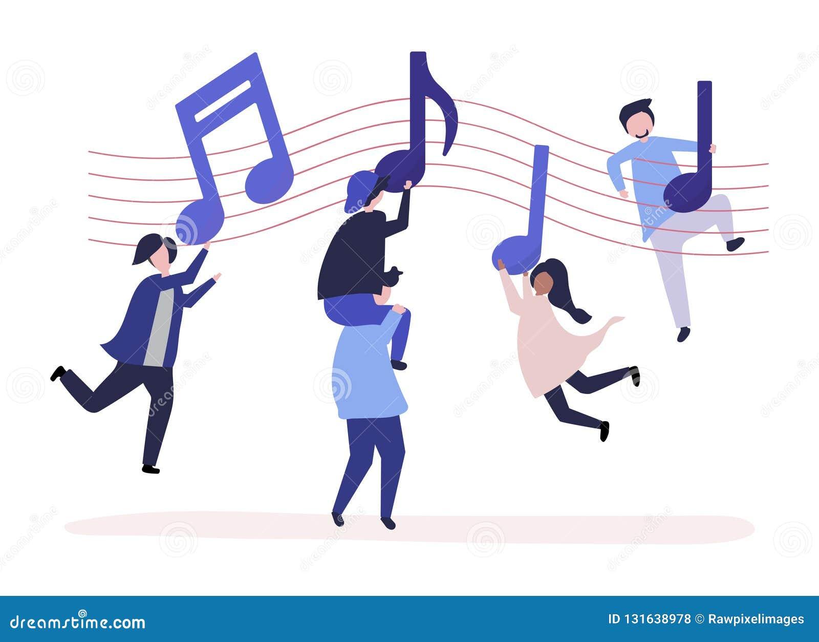 Танцы людей к музыке с музыкальными примечаниями плавая в воздух