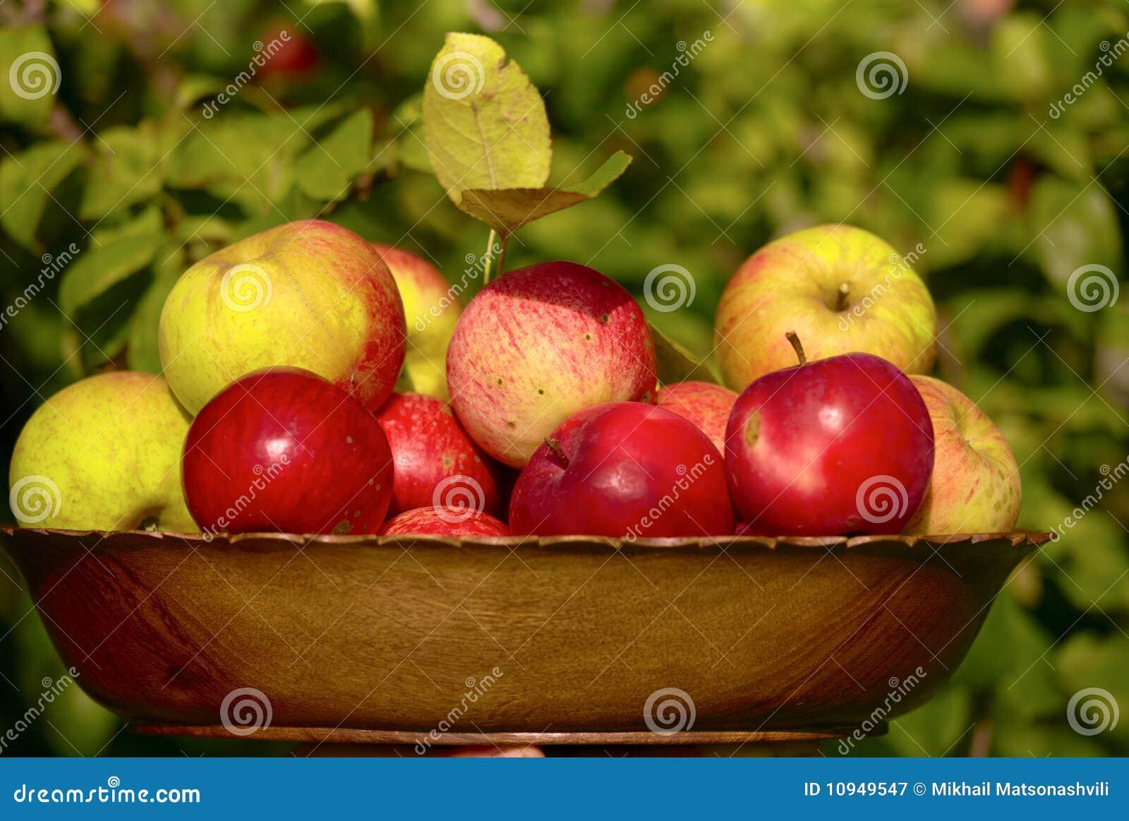 тарелка яблок