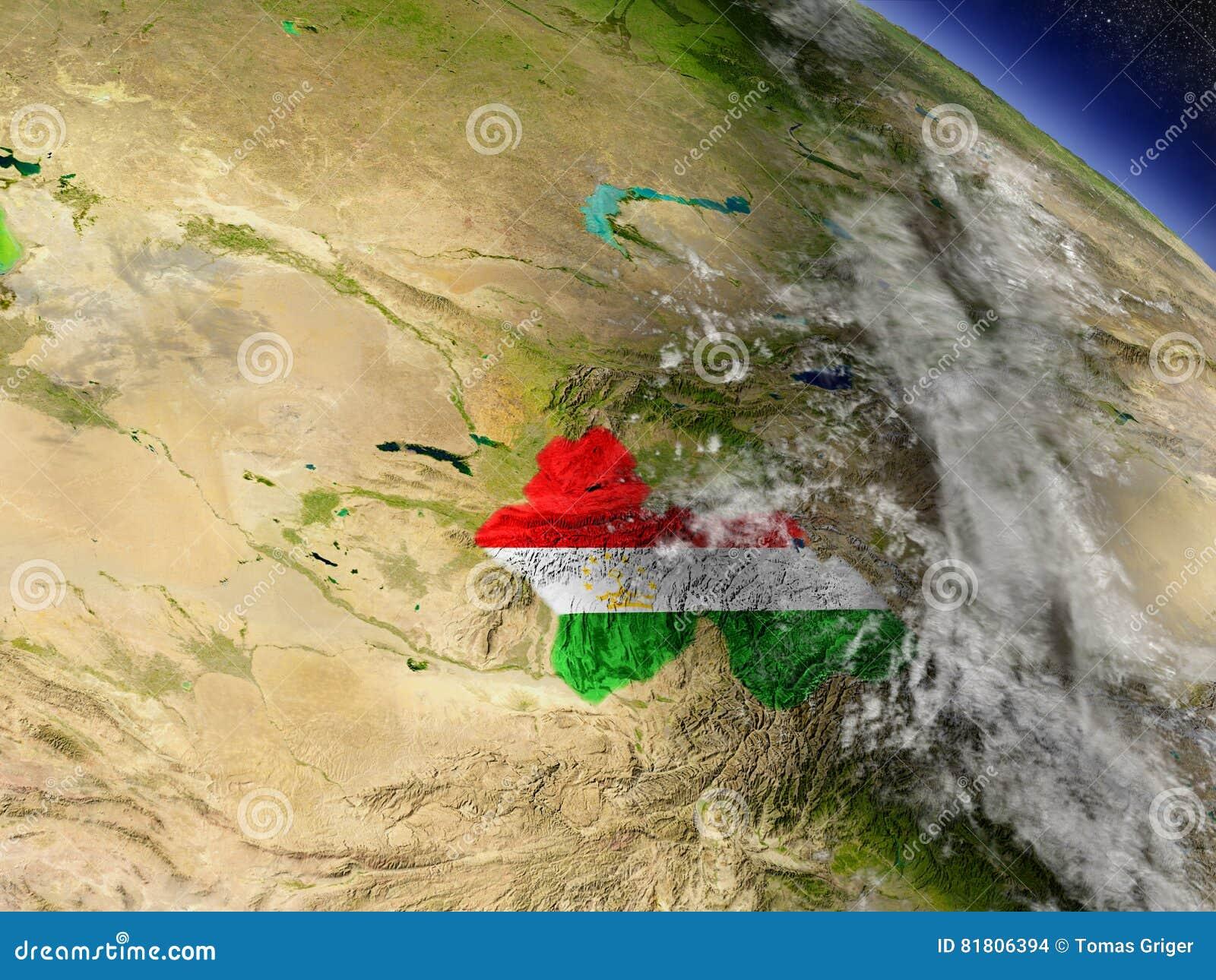 Таджикистан с врезанным флагом на земле
