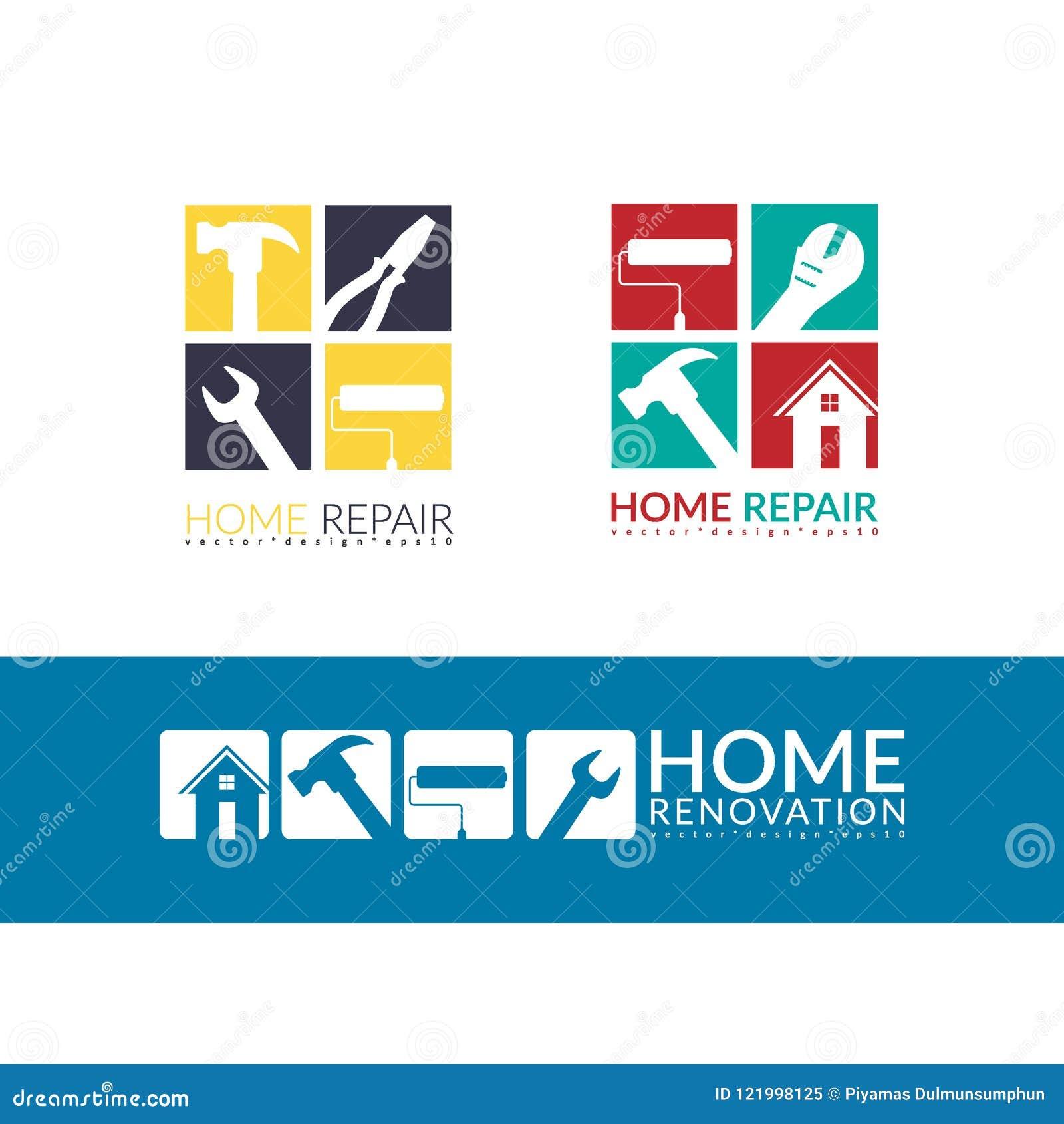 Творческая домашняя концепция ремонта, изолированный шаблон дизайна логотипа
