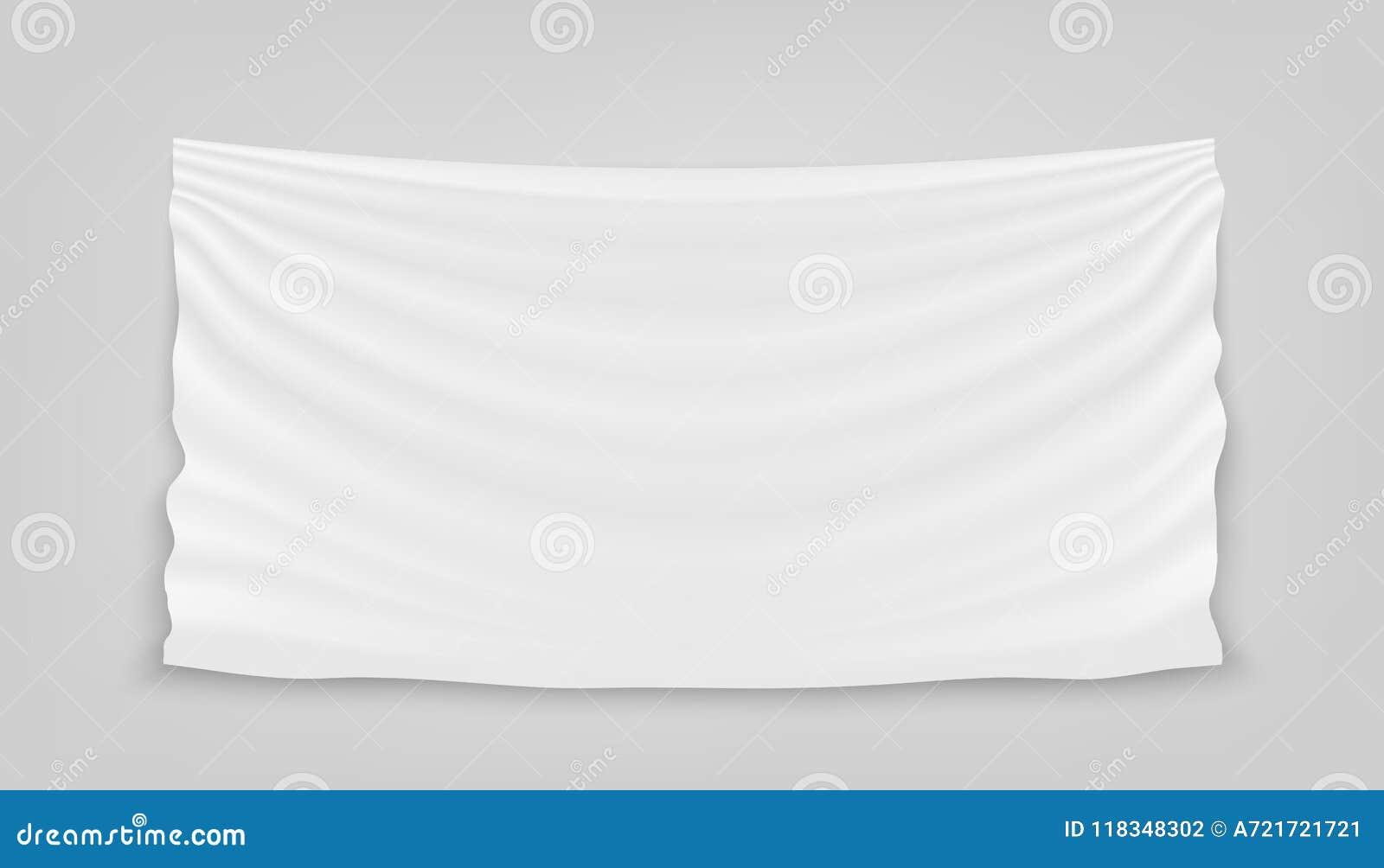 Творческая иллюстрация вектора висеть пустую белую ткань изолированную на предпосылке Ткань ткани знамени дизайна искусства с тен