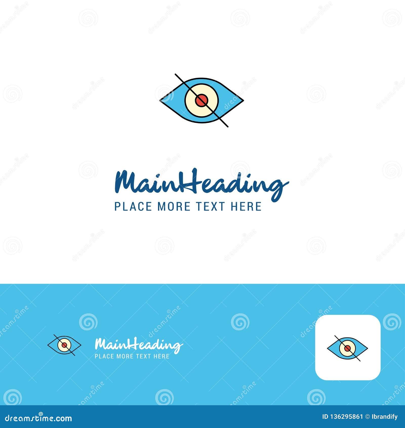Творческий дизайн логотипа глаза Плоское место логотипа цвета для слогана также вектор иллюстрации притяжки corel