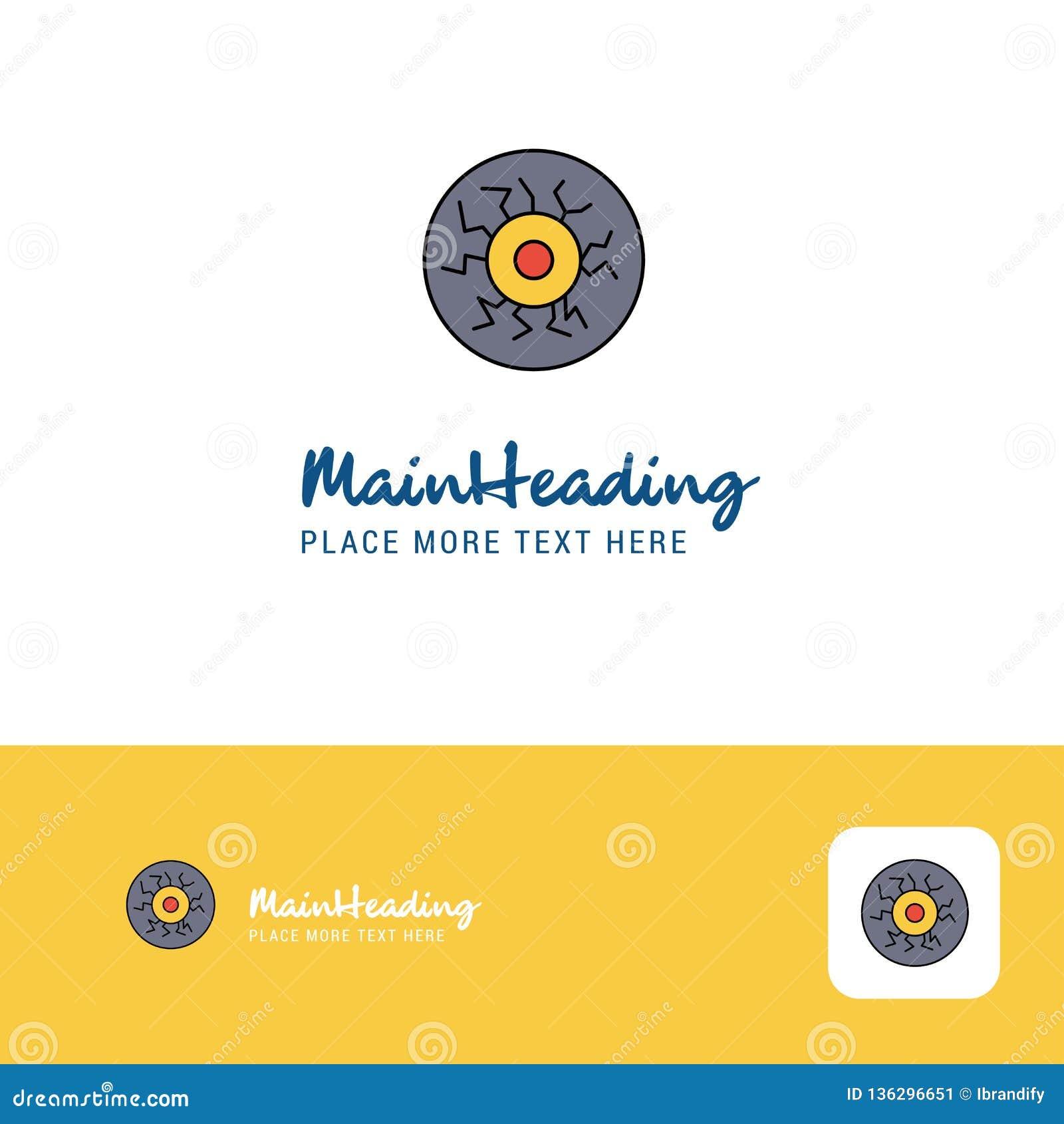 Творческий дизайн логотипа шарика глаза Плоское место логотипа цвета для слогана также вектор иллюстрации притяжки corel