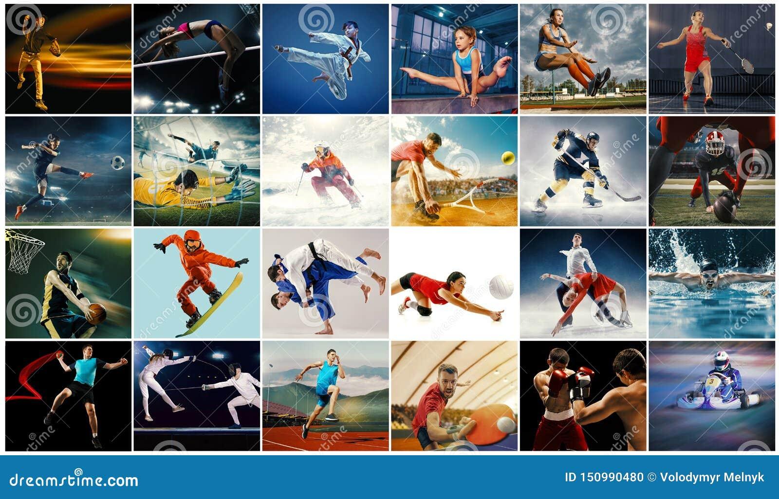 Творческий коллаж сделанный с различными видами спорта