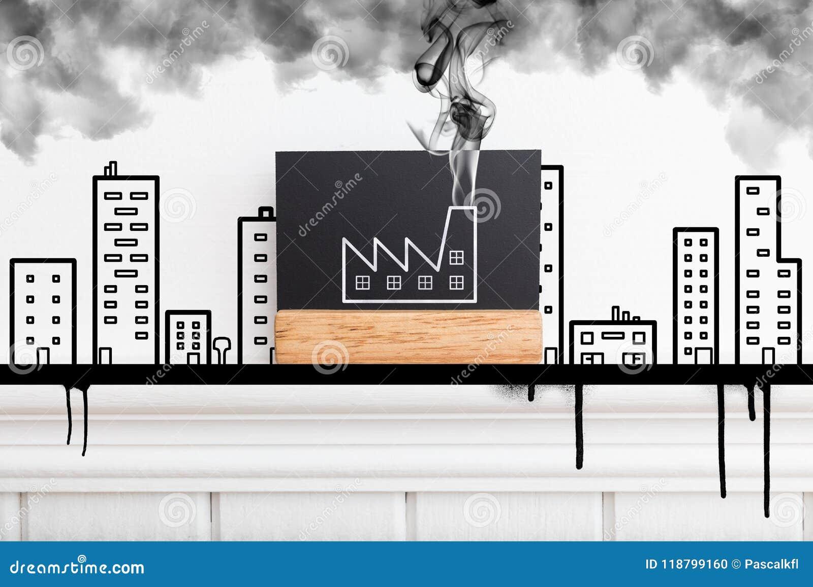 Творческое изображение стены при фабрика испуская дым Куря концепция фабрики Плоский стиль