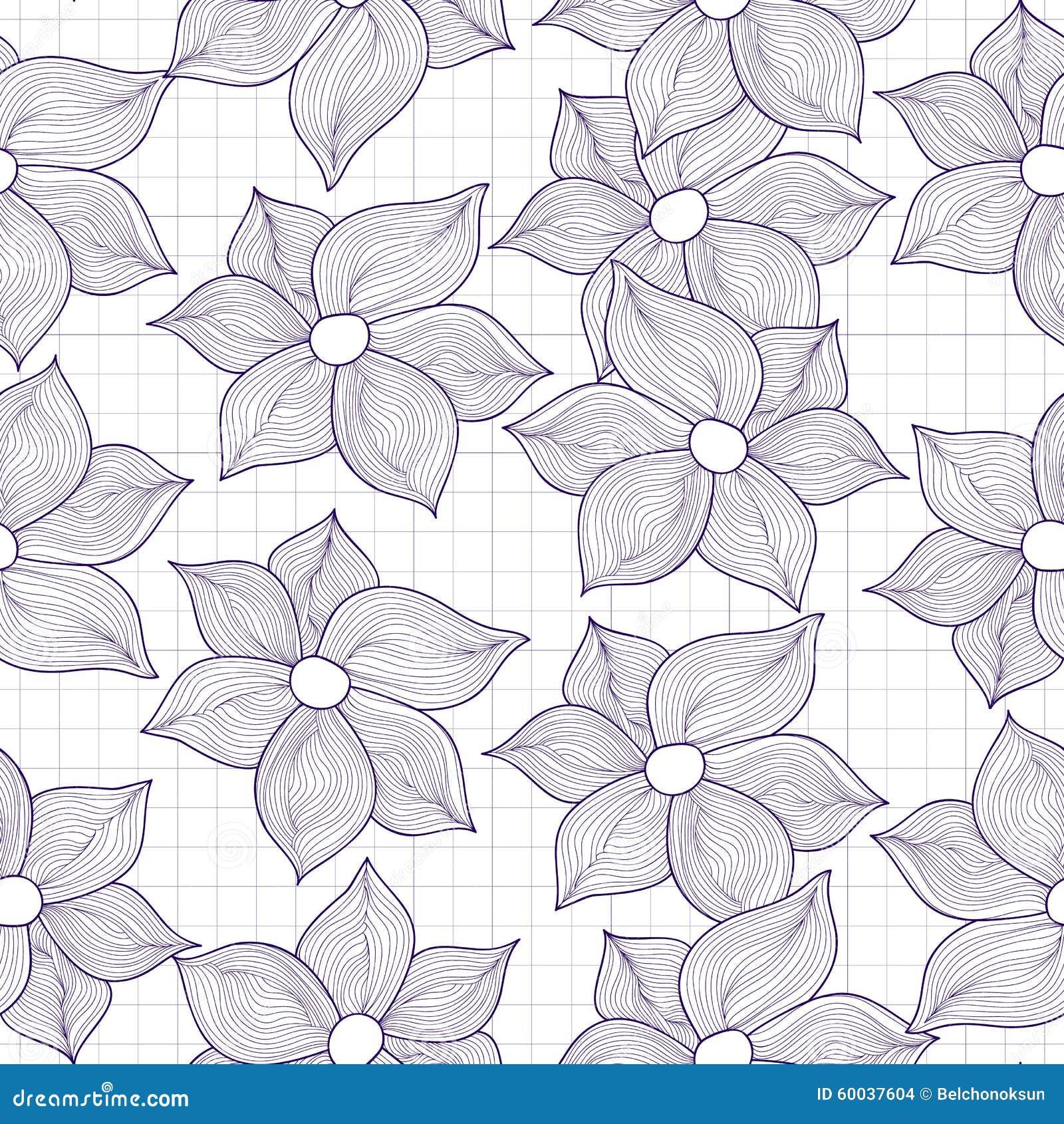 Текстура вектора безшовная цветков стилизованных как чертежи