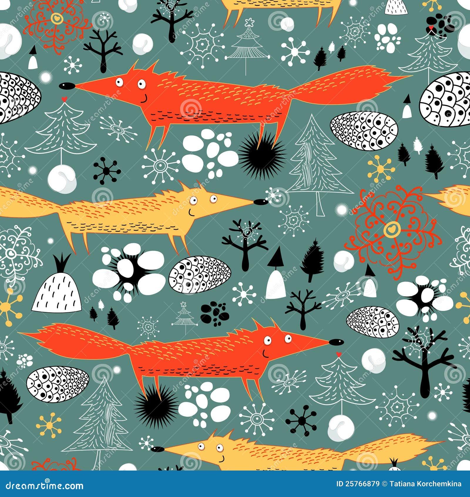 Текстура зимы с лисицами