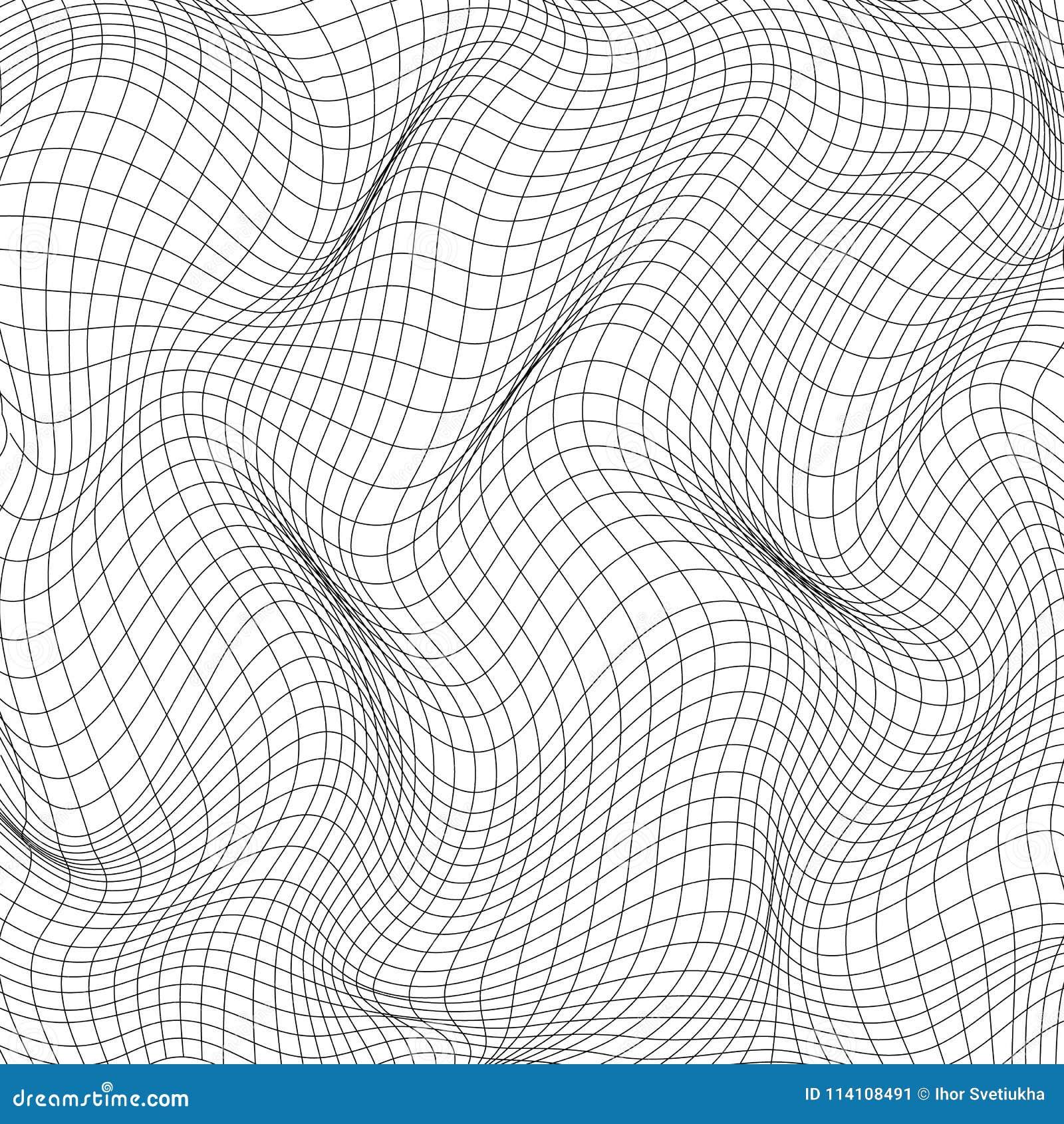 Текстура искривления сетки изолированная на белой предпосылке Передерните и сеть деформации также вектор иллюстрации притяжки cor