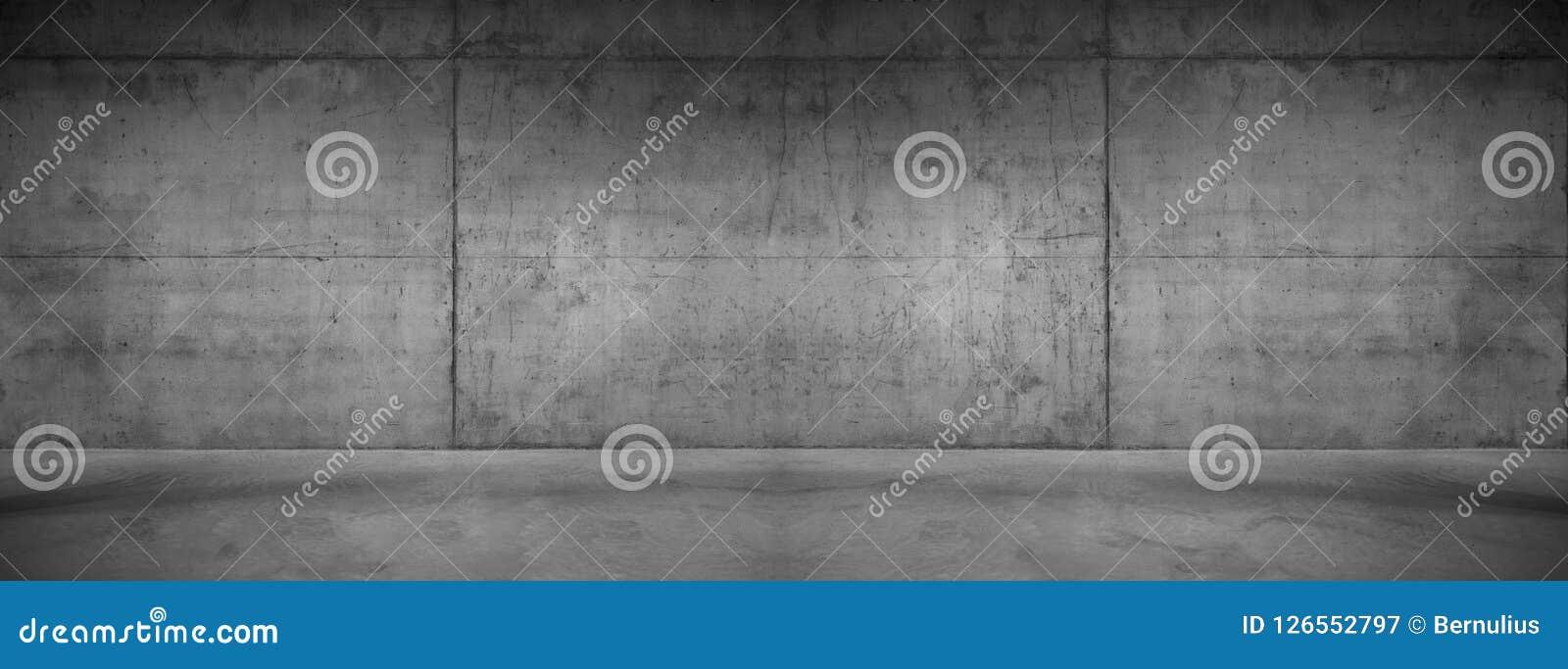 Текстура предпосылки темной панорамы бетонной стены широкая современная
