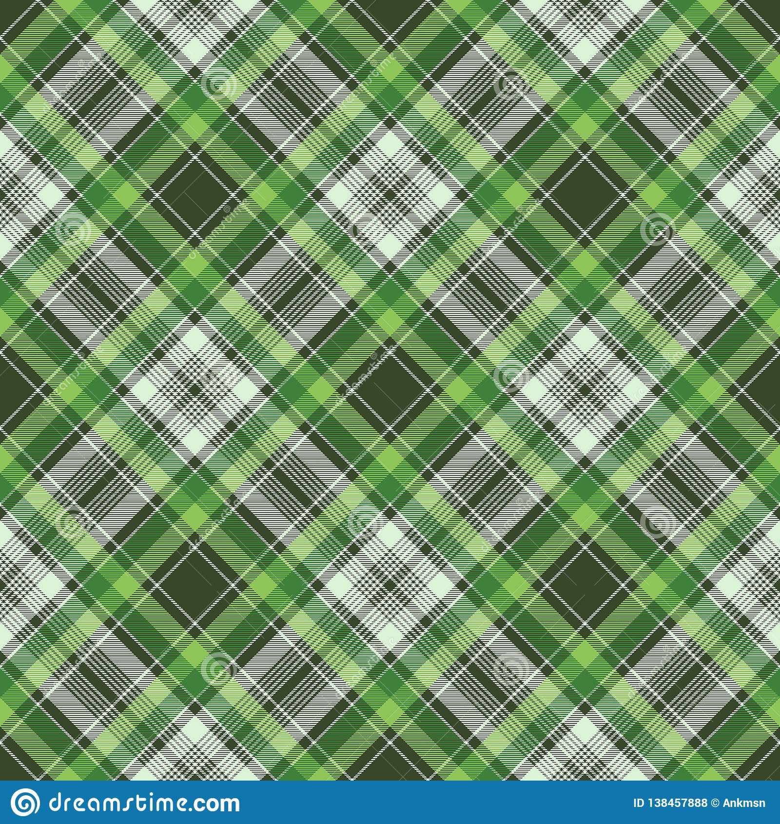 Текстура ткани зеленой ирландской шотландки ткани проверки безшовная