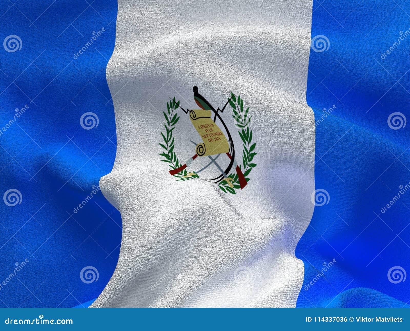 Текстура ткани с изображением флага Гватемалы, развевая в ветре