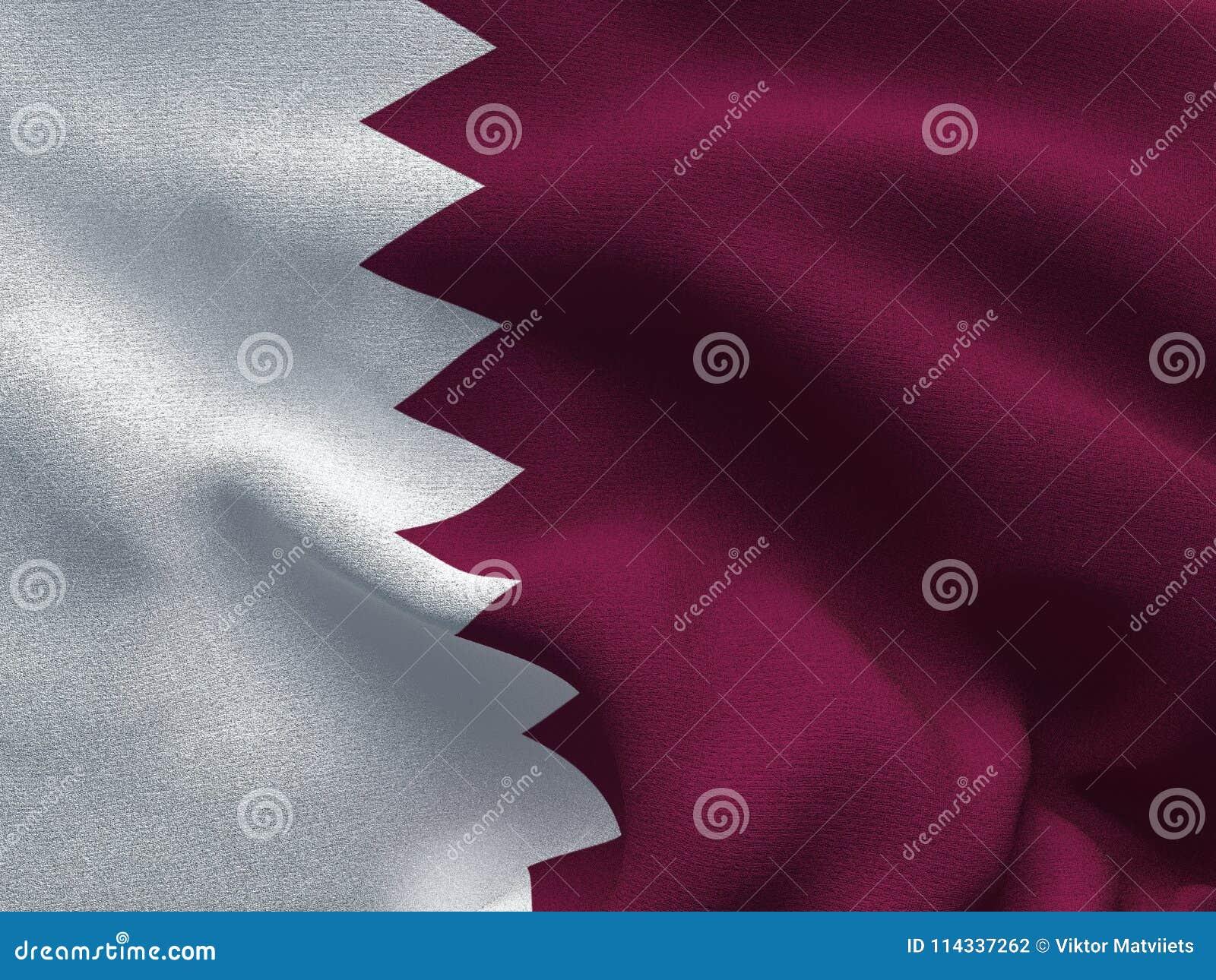 Текстура ткани с изображением флага Катара, развевая в ветре