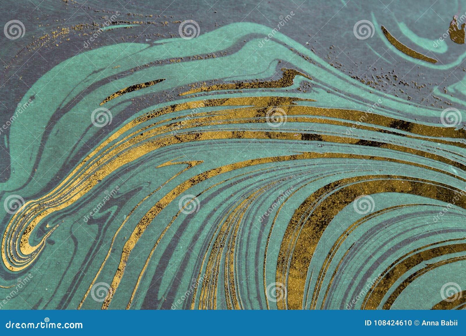 Текстура чернил мраморная Предпосылка волны Ebru handmade Поверхность бумаги Kraft Уникально иллюстрация искусства Текстура жидко