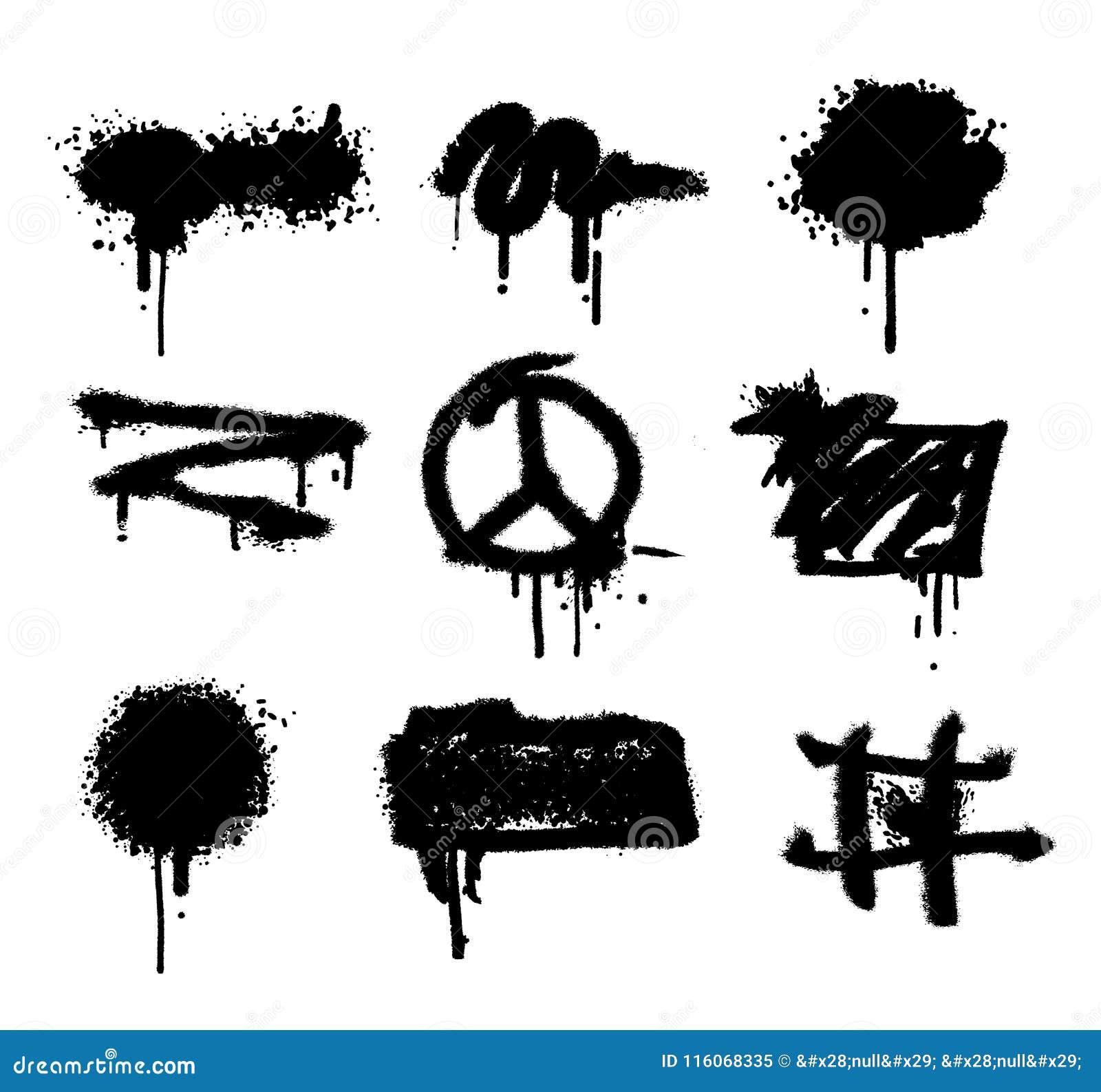 Текстура grunge splatter вектора краски брызга установленная абстрактный вектор предпосылки Потеки граффити черные Грубый выплеск