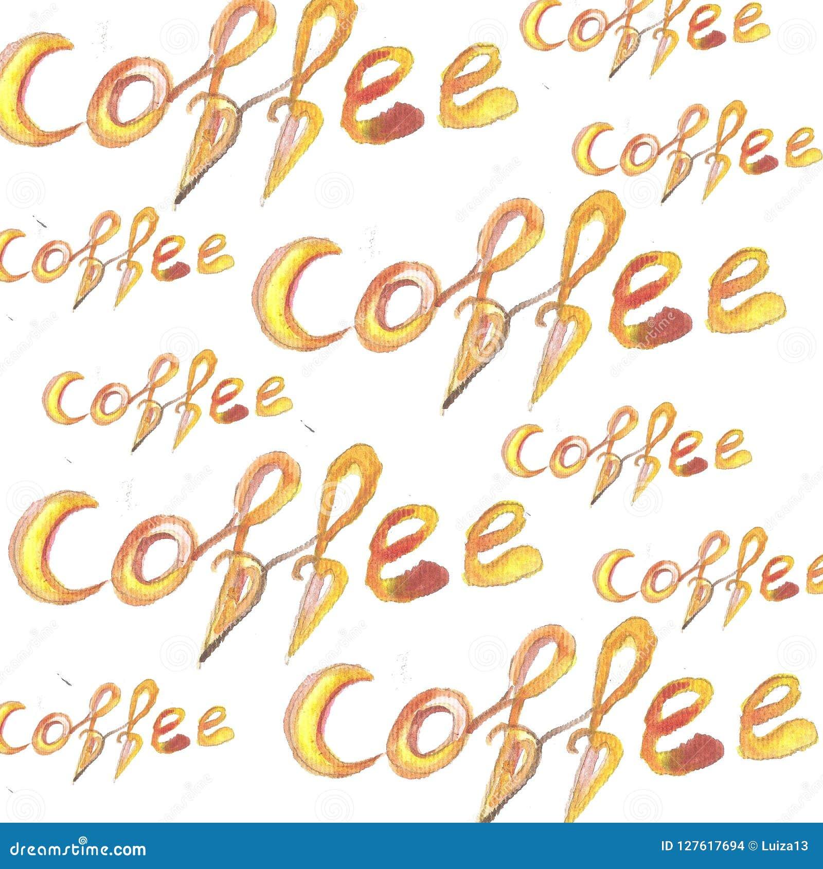 Текстурированный Watercolour помечающ буквами кофе всегда хорошая идея изолированный на теме, плакате, печати футболки