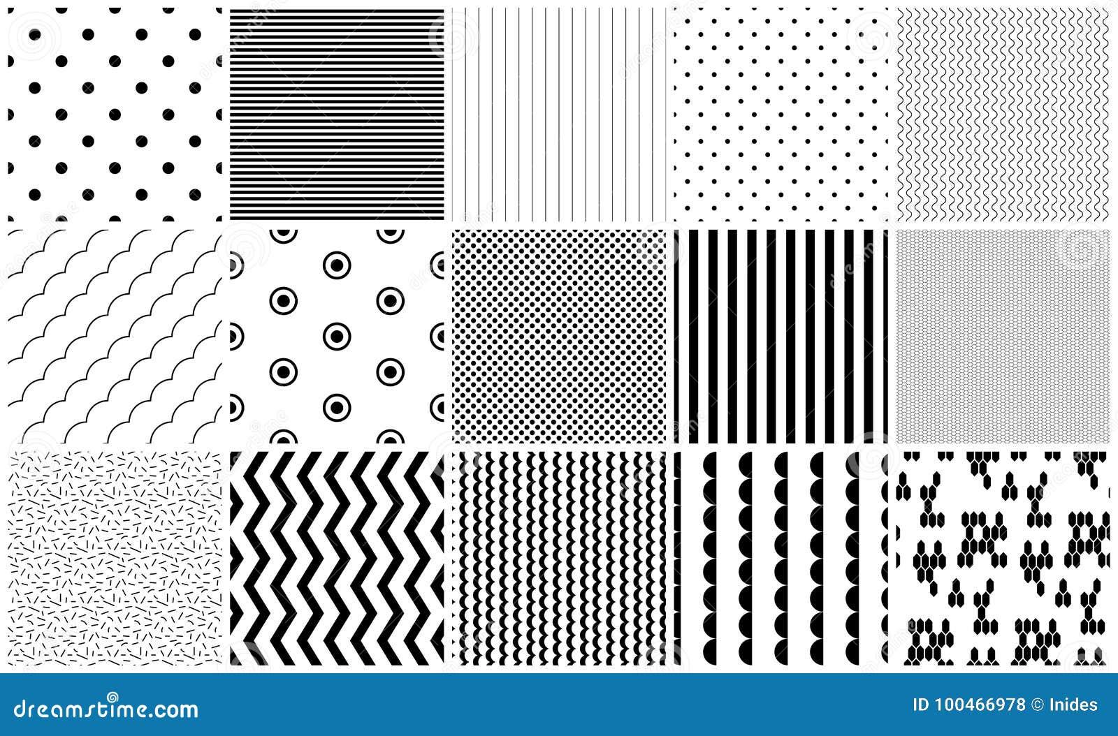 Текстуры безшовного вектора картины черно-белые геометрические