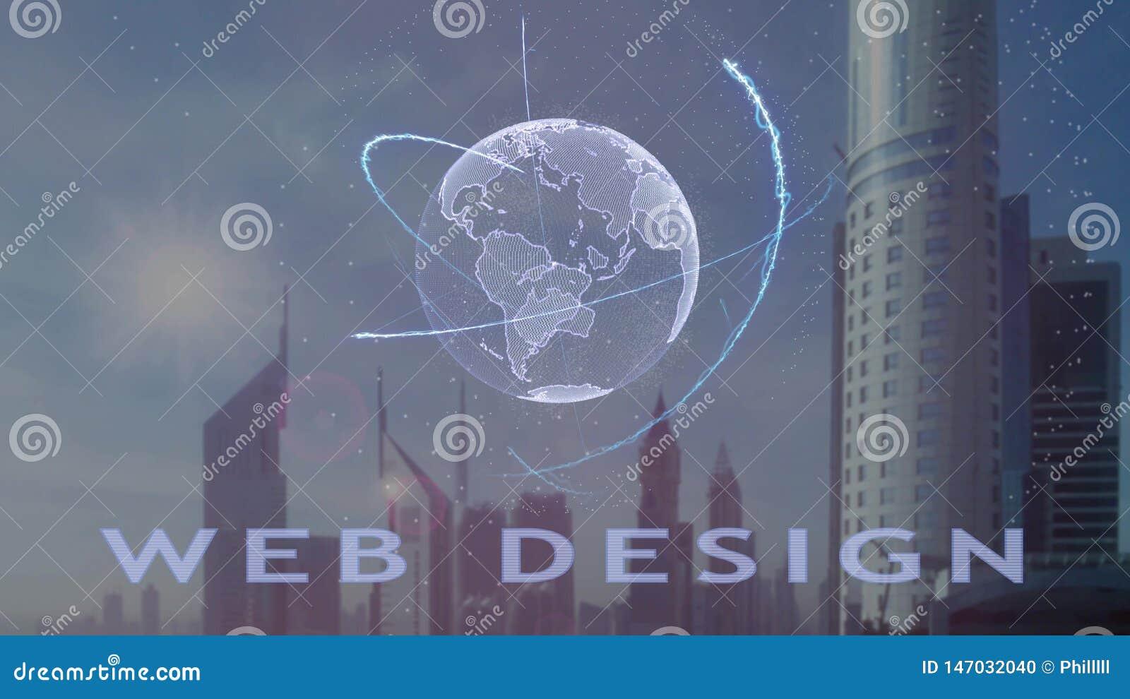 Текст веб-дизайна с hologram 3d земли планеты против фона современной метрополии