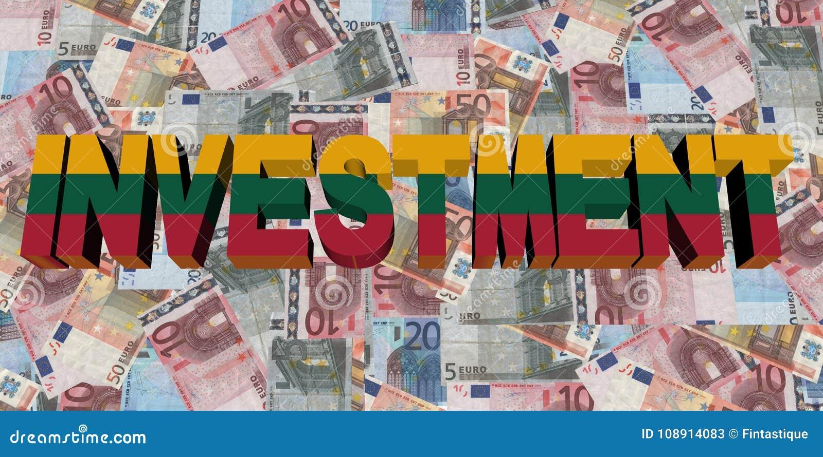 Текст вклада с флагом Литвы на иллюстрации евро
