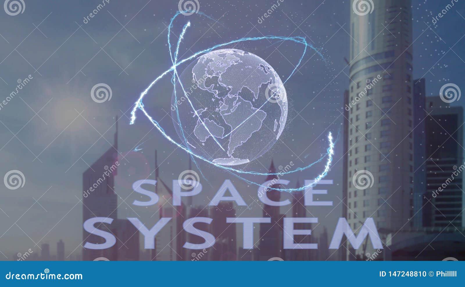 Текст космической системы с hologram 3d земли планеты против фона современной метрополии