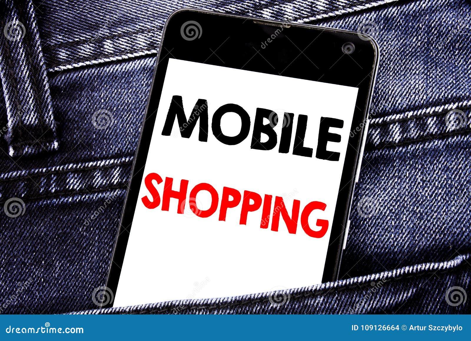 Текст сочинительства показывая передвижные покупки Концепция дела для сотового телефона мобильного телефона онлайн написанного за