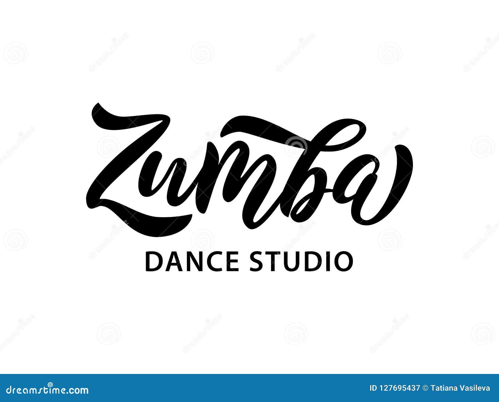 Текст студии танца Zumba Дизайн знамени слова каллиграфии аэробная пригодность также вектор иллюстрации притяжки corel