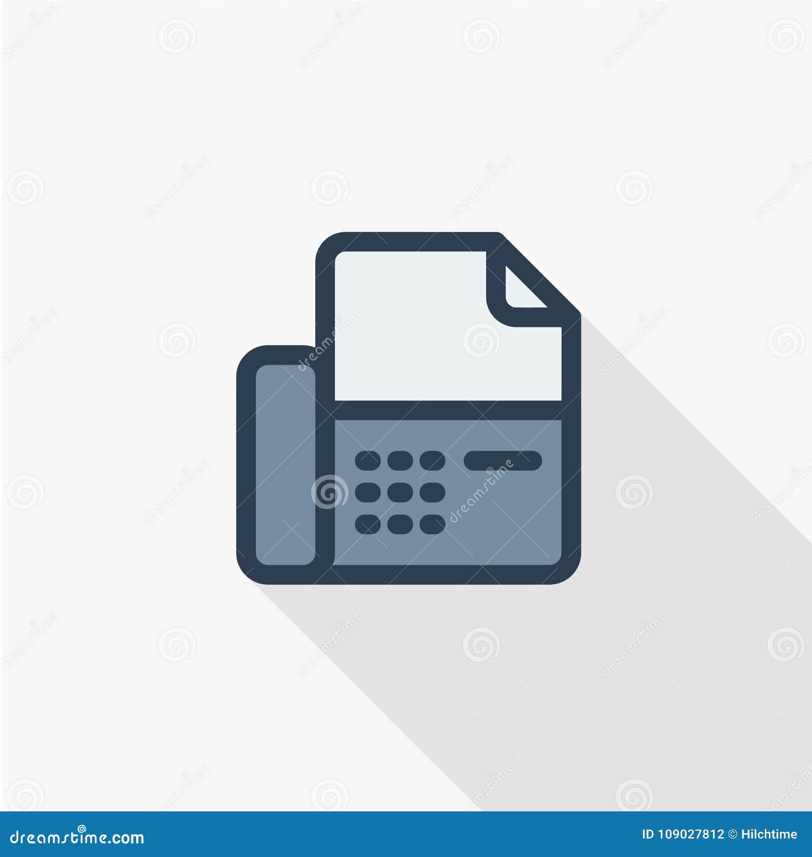 Телефонируйте, отправьте телефону офиса тонкую линию по факсу плоский значок Дизайн тени линейного символа вектора красочный длин