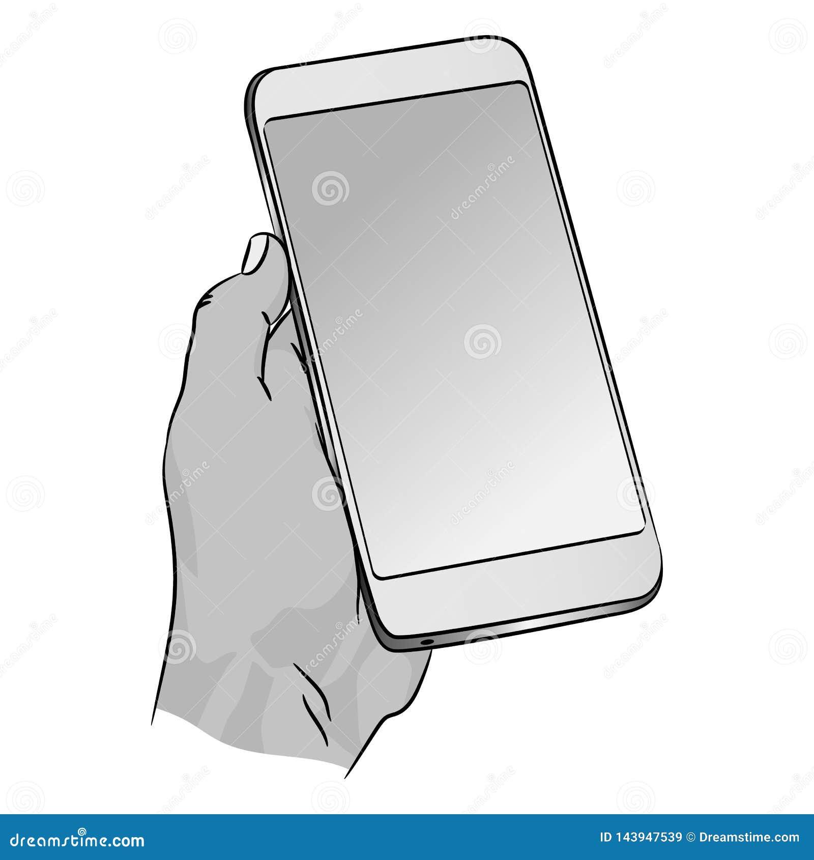 Телефон вектора в человеческой руке Умный взрослый смартфон с пустым темным экраном