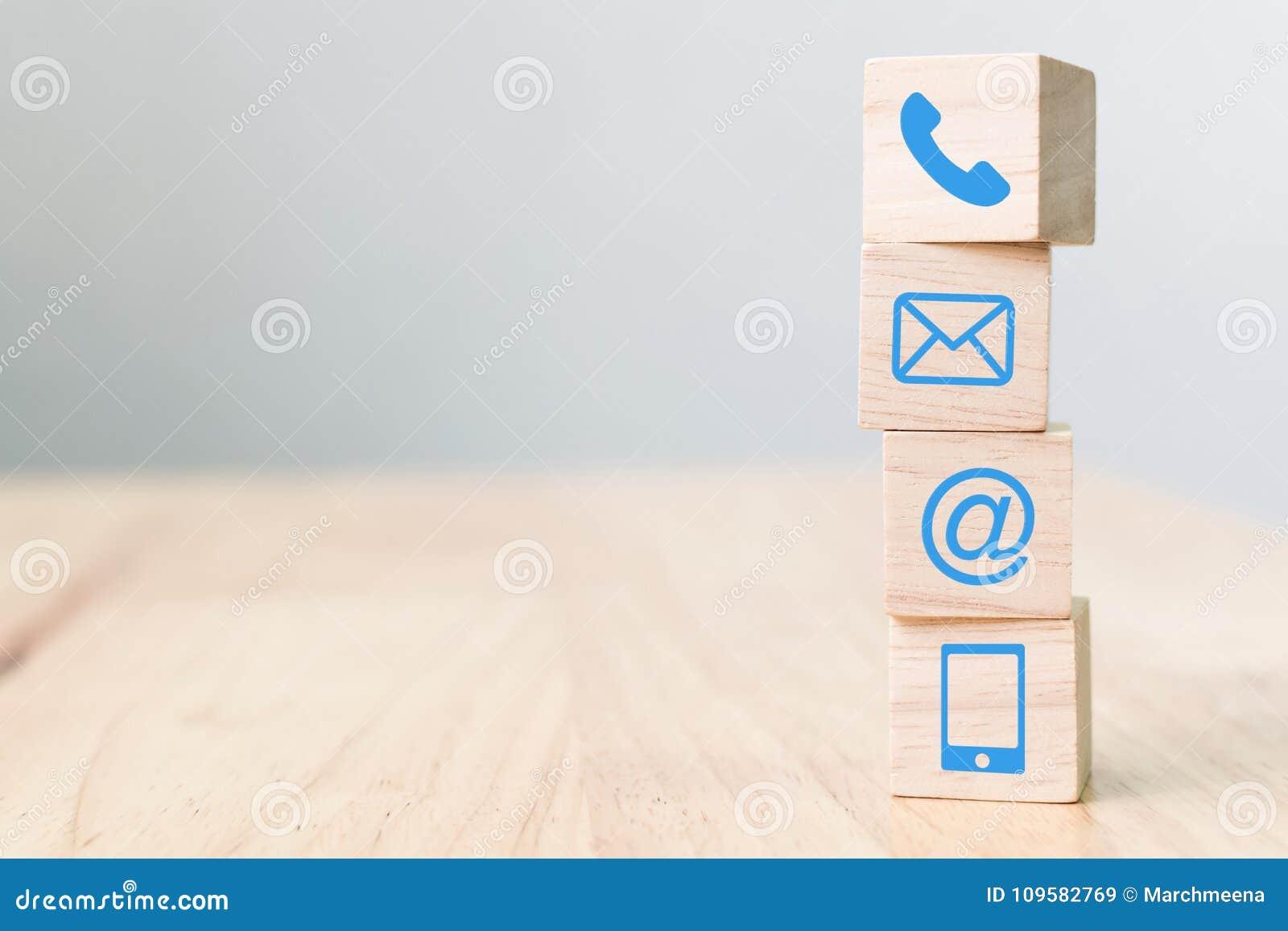 Телефон символа деревянного блока, почта, адрес и мобильный телефон, сеть
