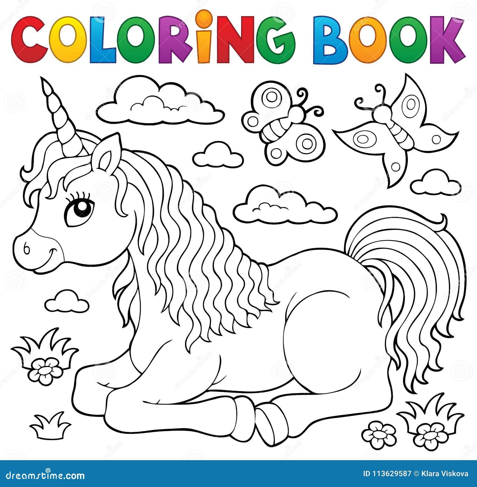 Тема 1 единорога книжка-раскраски лежа Иллюстрация вектора ...
