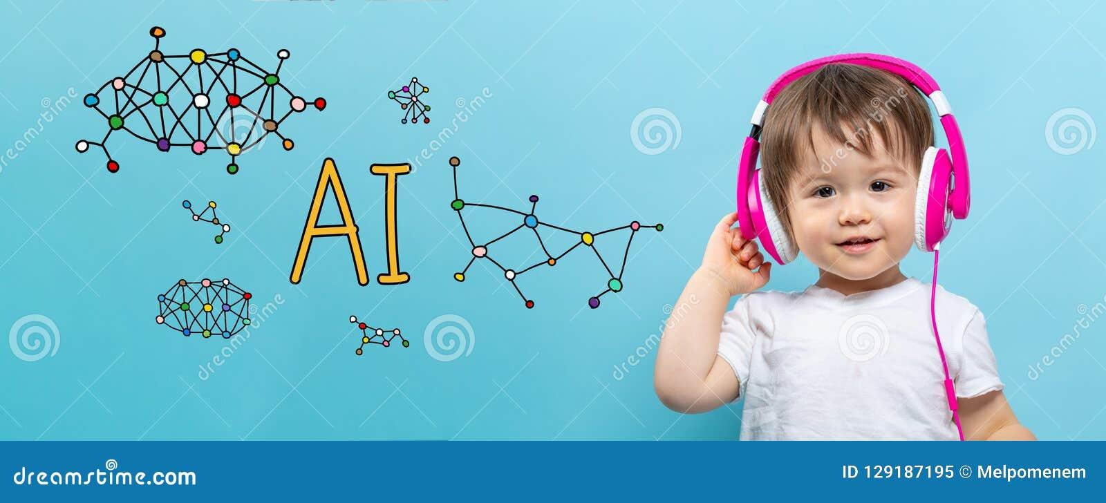 Тема AI с мальчиком малыша с наушниками