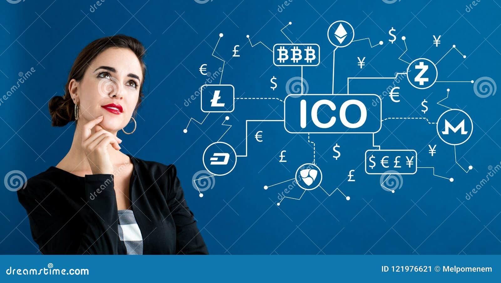 Тема Cryptocurrency ICO с бизнес-леди