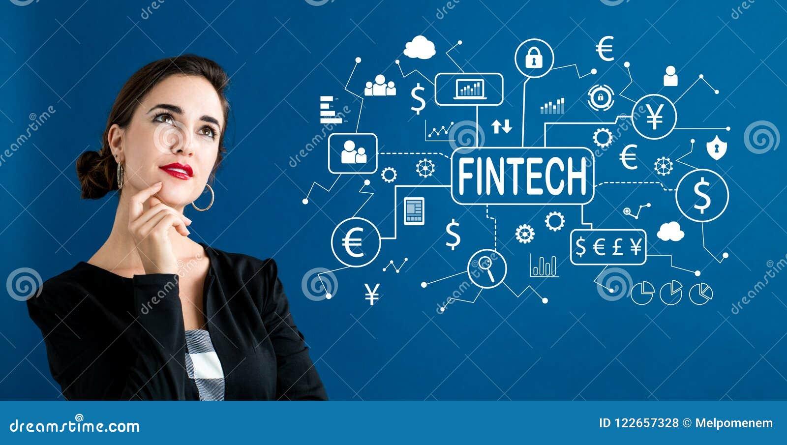 Тема Fintech с бизнес-леди