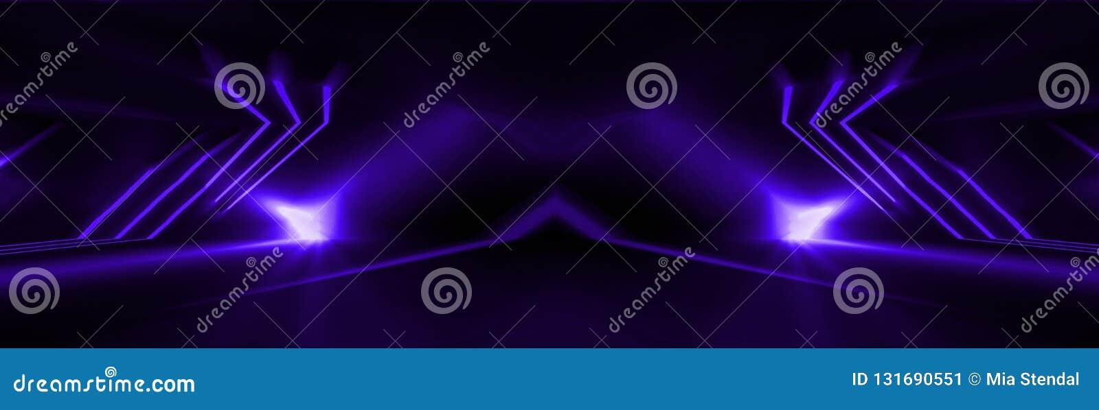 Темная абстрактная пурпурная предпосылка Неоновое свето, лучи, ультрамарин в темноте
