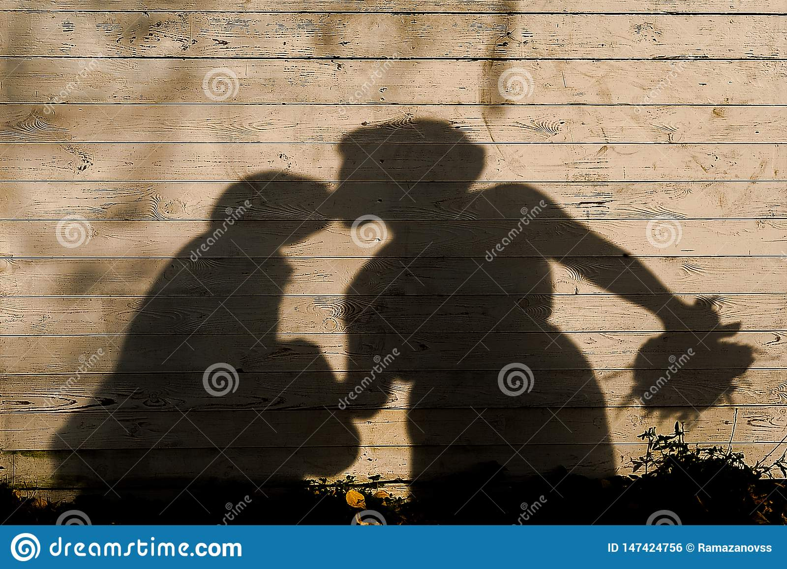 Тень целовать новобрачных на деревянной предпосылке