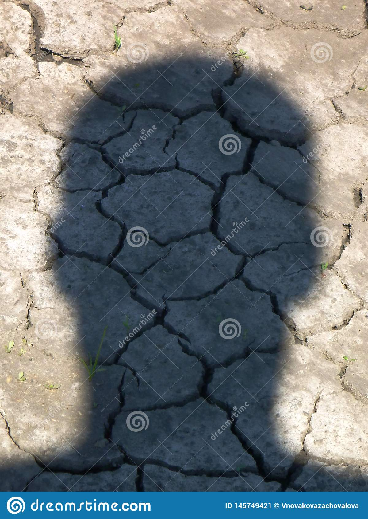 Тень человека главная на сухой земле